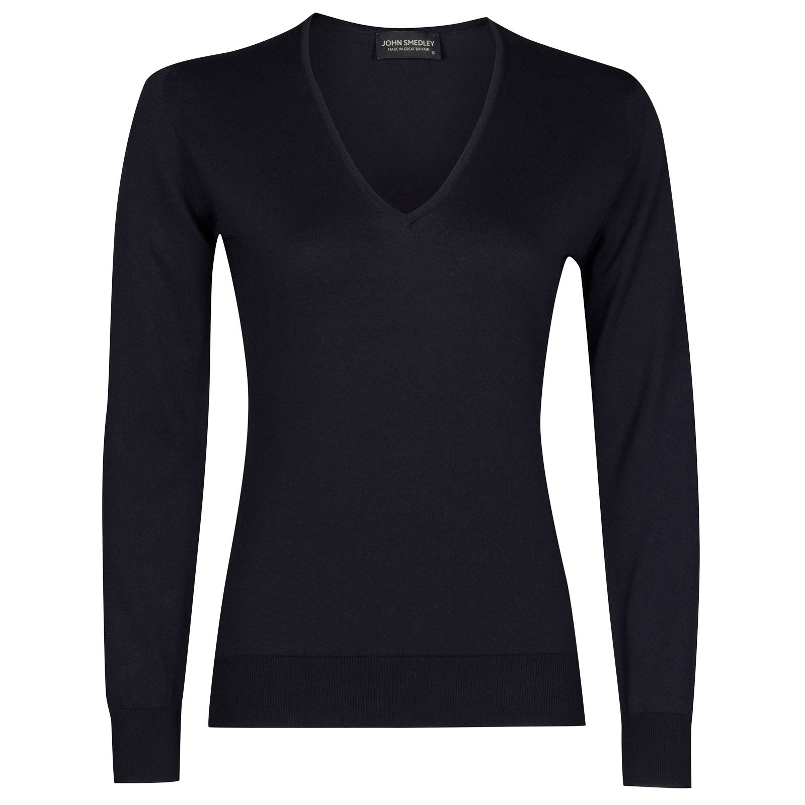 John Smedley putney Sea Island Cotton Sweater in Navy-L