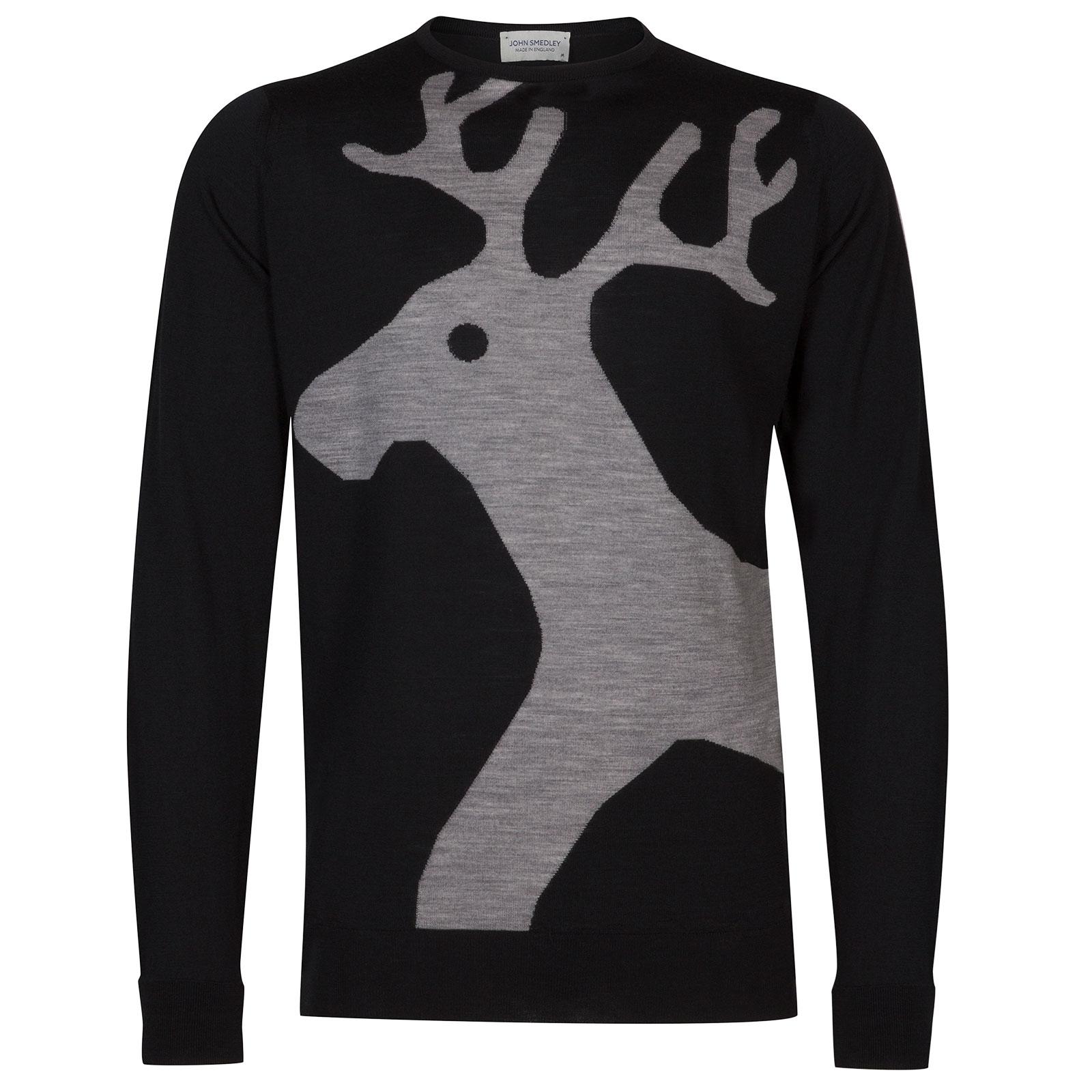 John Smedley Raoul Extra Fine Merino Pullover in Black-XL