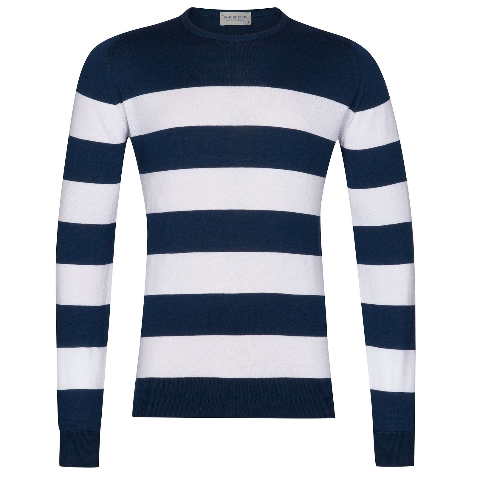 John Smedley Raydon Sea Island Cotton Pullover in Indigo-S