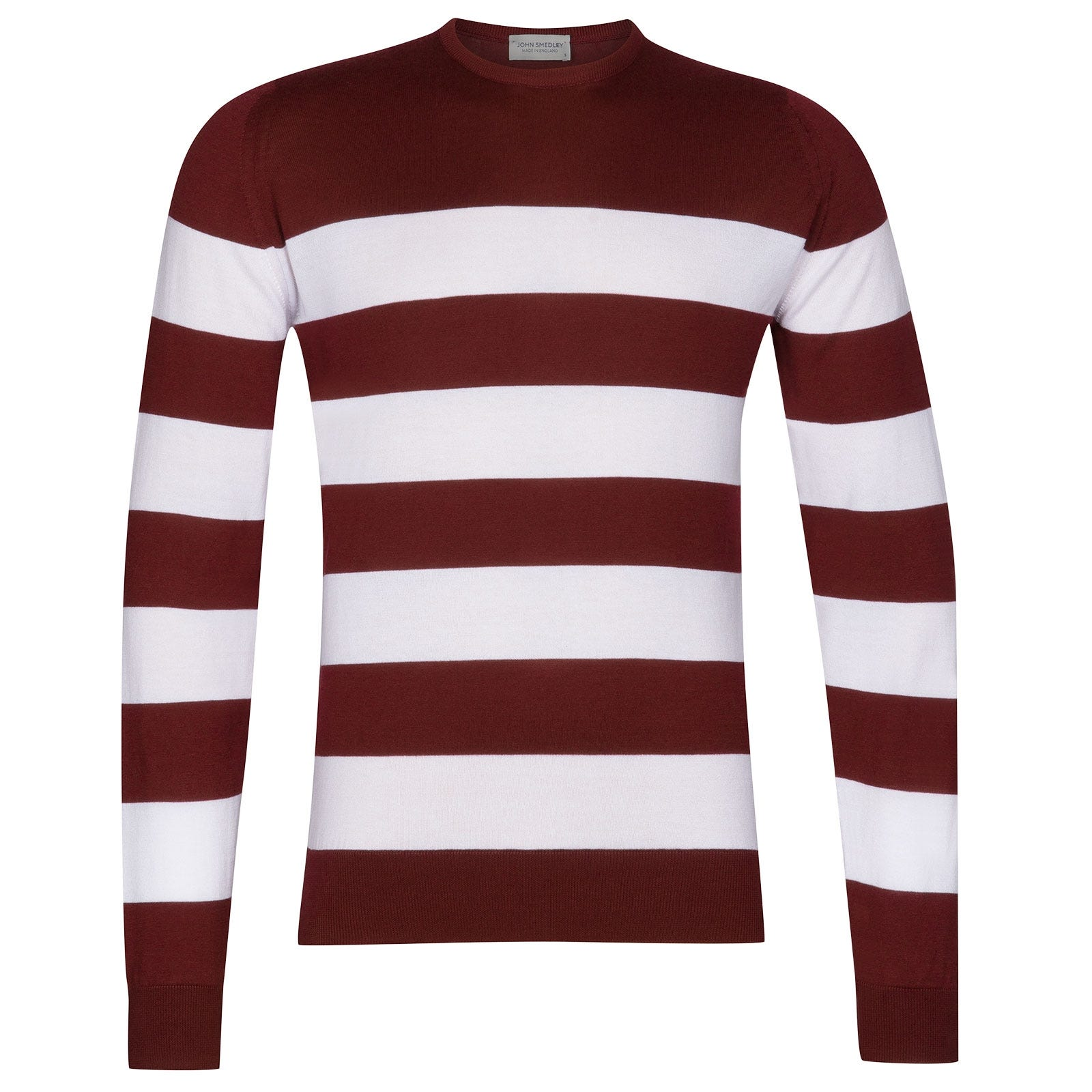 John Smedley Raydon Sea Island Cotton Pullover in Burgundy Grain-L