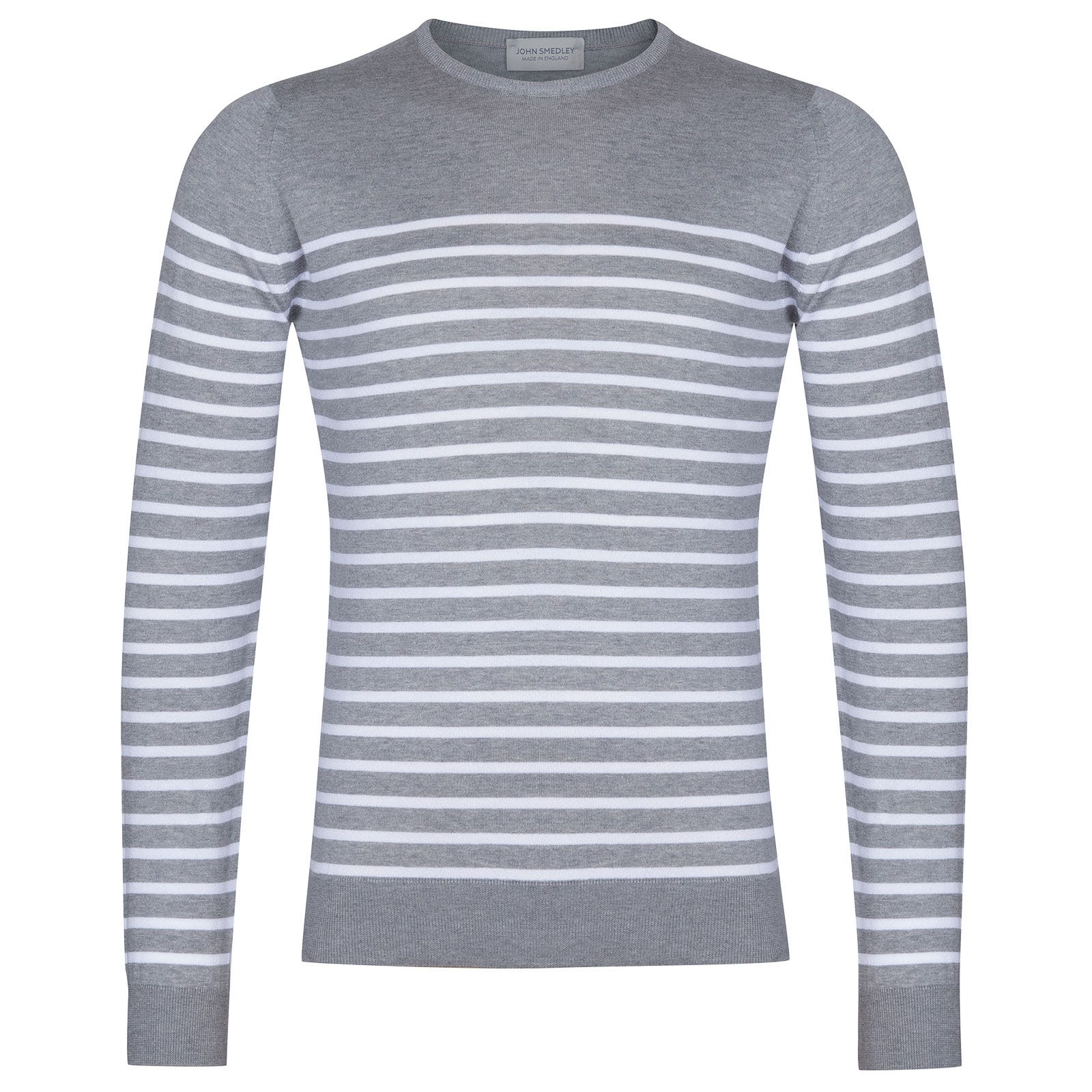 John Smedley Redfree Sea Island Cotton Pullover in Silver-XL