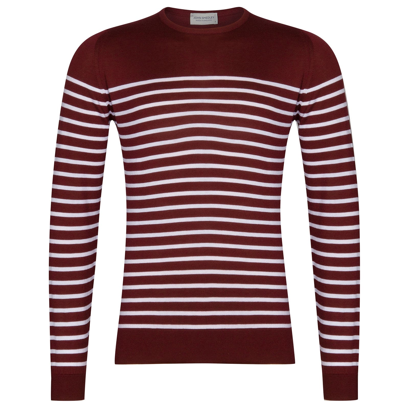 John Smedley Redfree Sea Island Cotton Pullover in Burgundy Grain-XXL