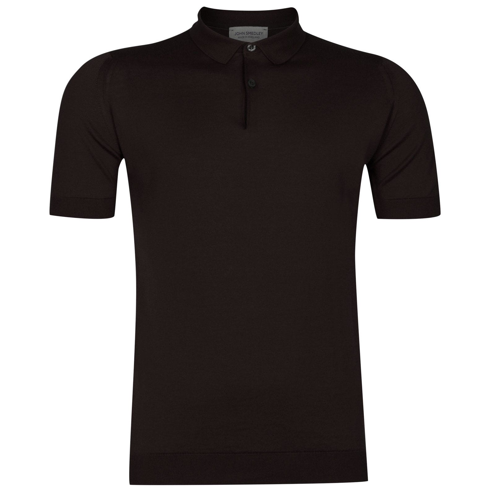 John Smedley Rhodes Sea Island Cotton Shirt in Dark Leather-S