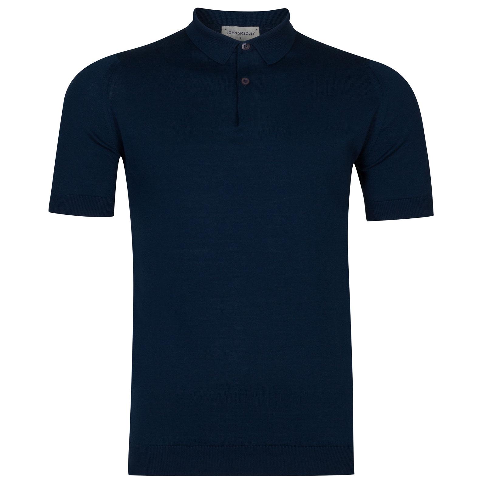 John Smedley rhodes Sea Island Cotton Shirt in Indigo-M