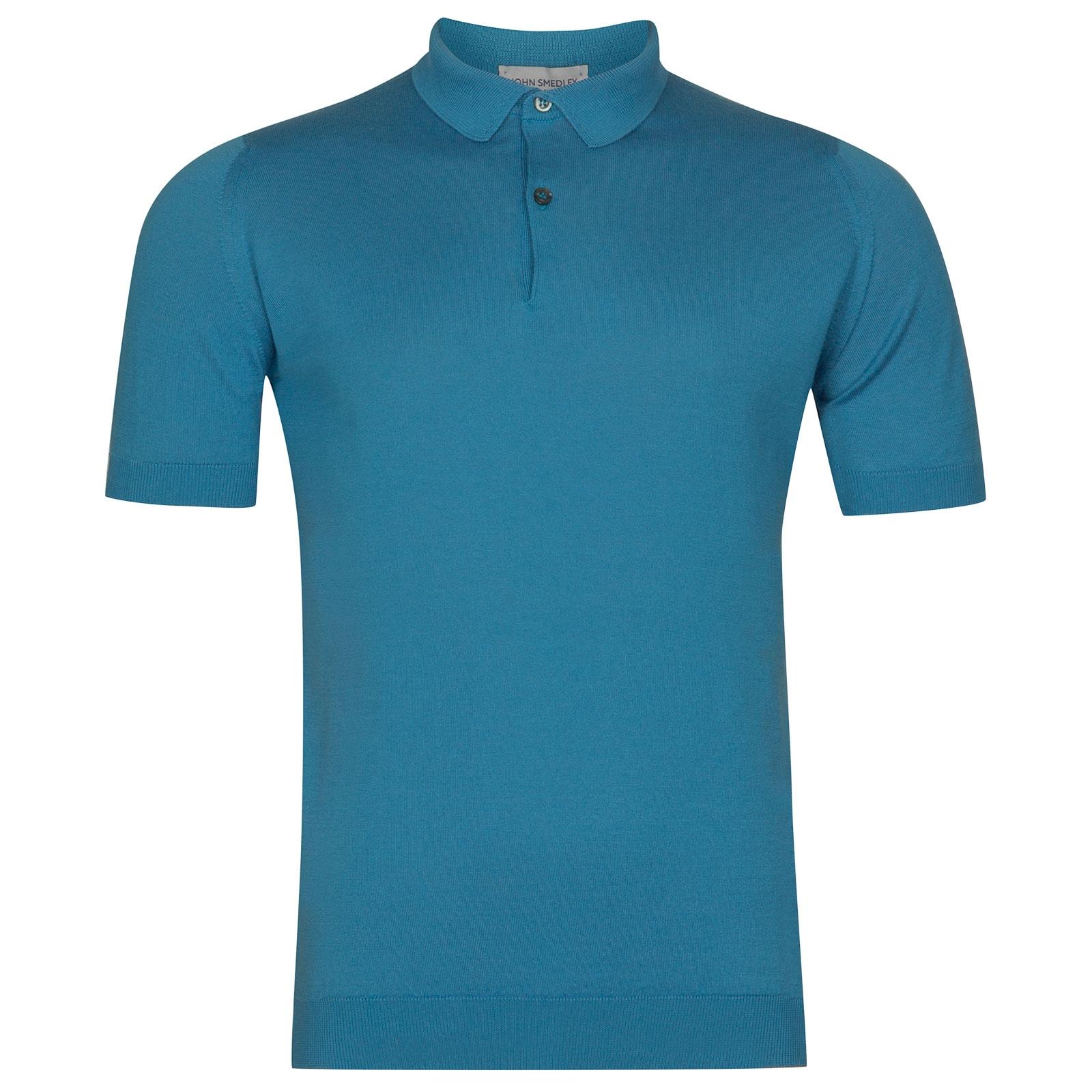 John Smedley Rhodes Sea Island Cotton Shirt in Ionize Blue-M