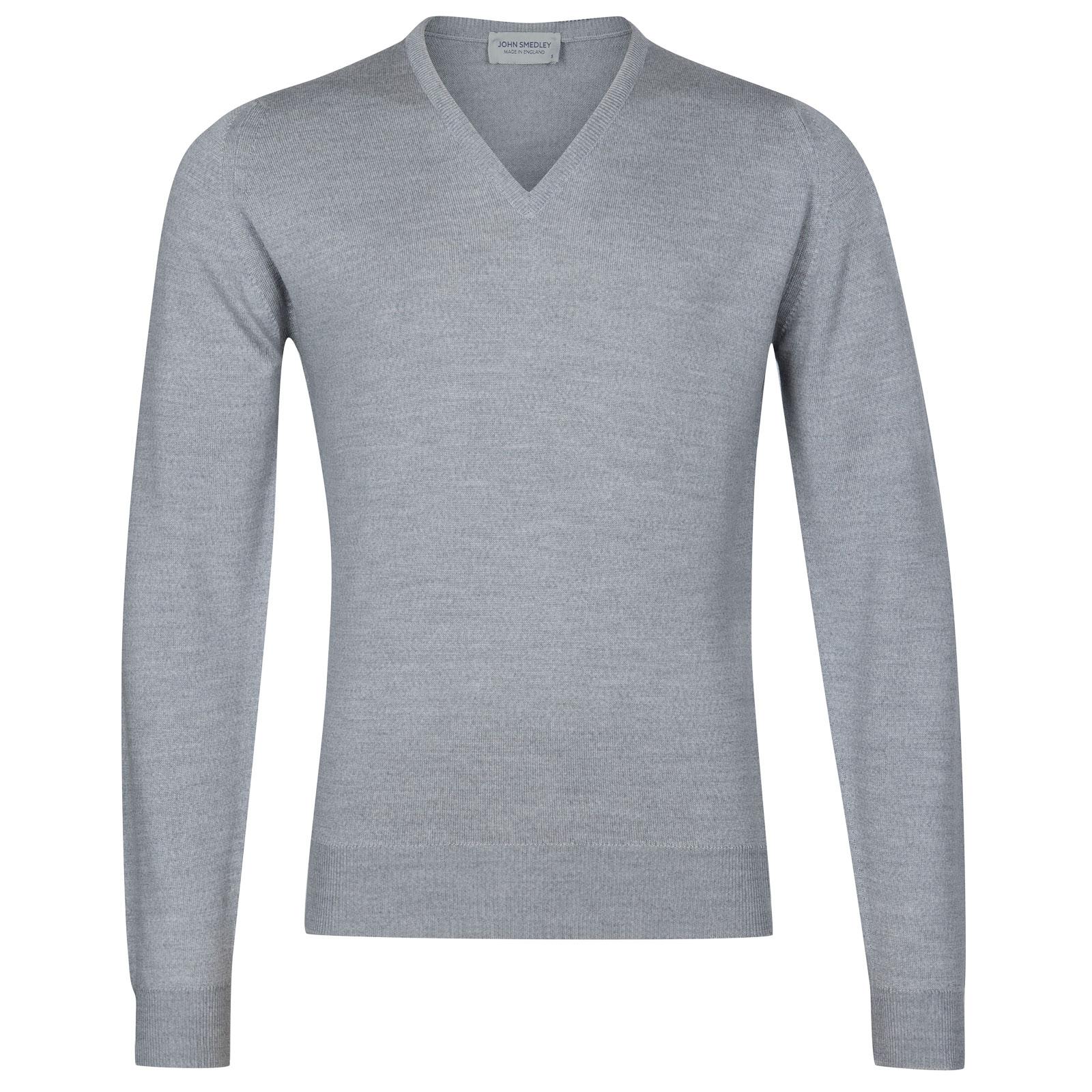 John Smedley Riber Merino Wool Pullover in Bardot Grey-XL