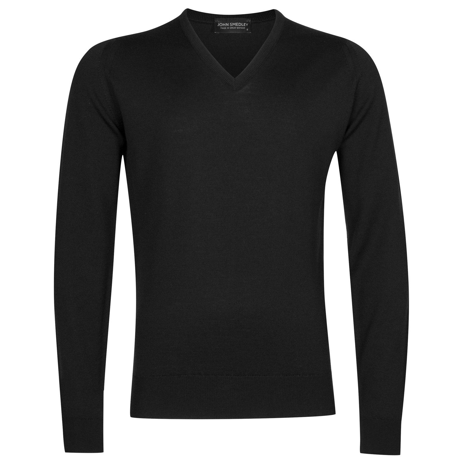 John Smedley Riber Merino Wool Pullover in Black-S