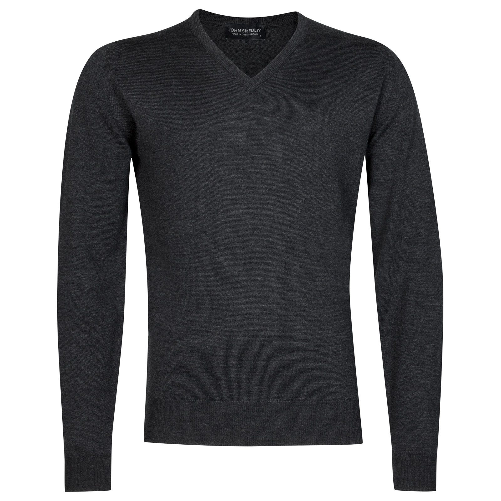 John Smedley Riber Merino Wool Pullover in Charcoal-S