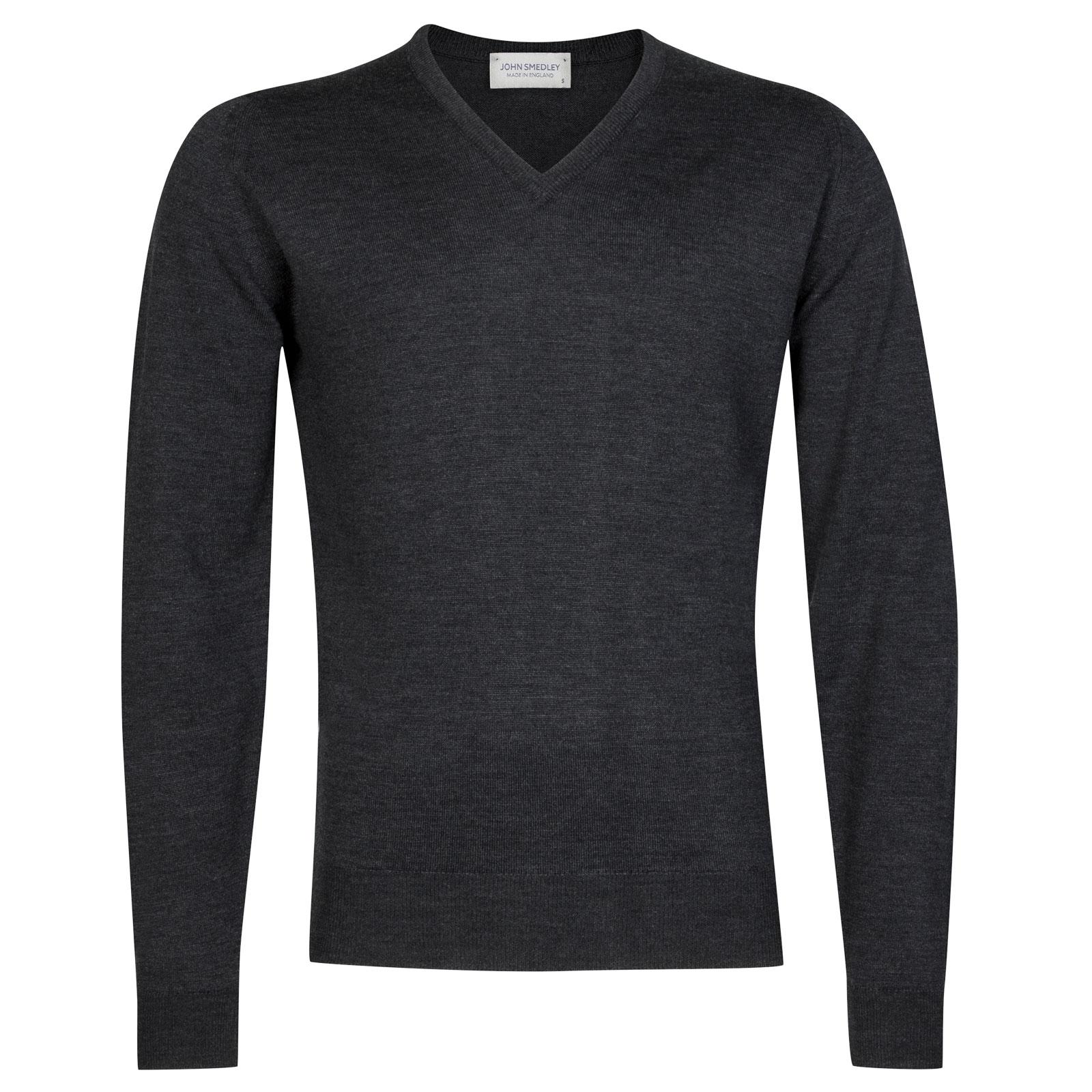 John Smedley Riber Merino Wool Pullover in Charcoal-XXL