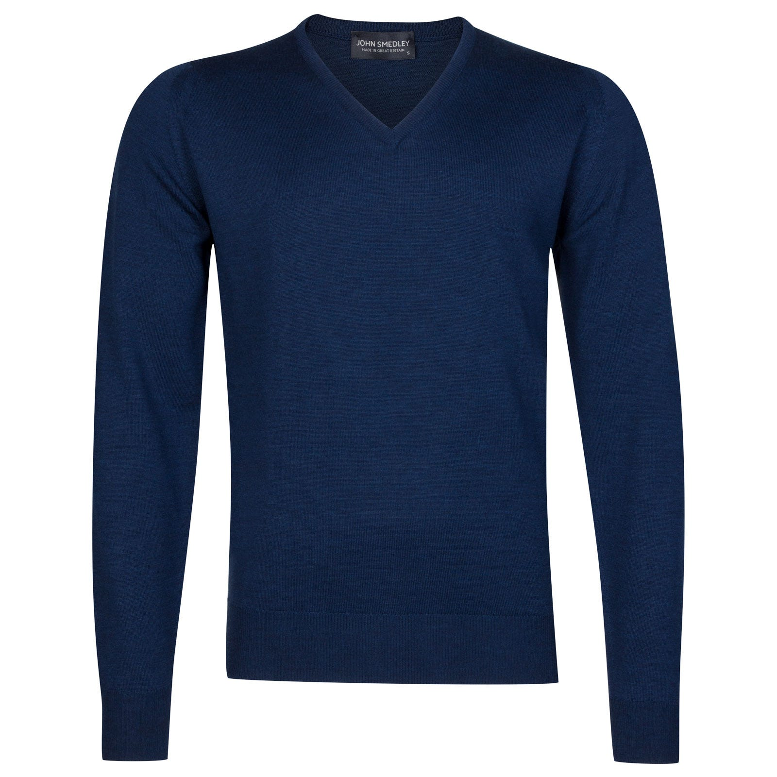 John Smedley Riber Merino Wool Pullover in Indigo-XL