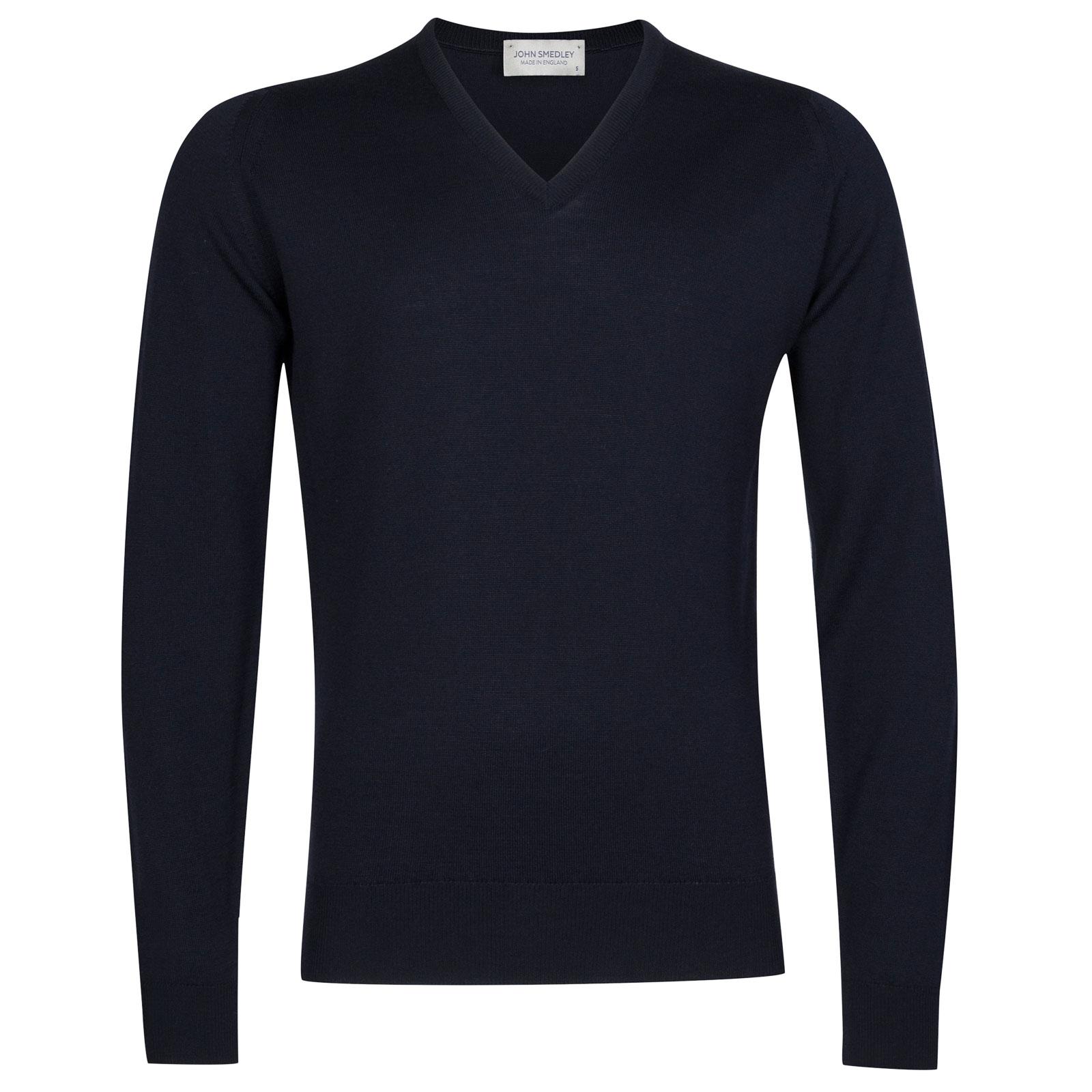 John Smedley Riber Merino Wool Pullover in Midnight-M