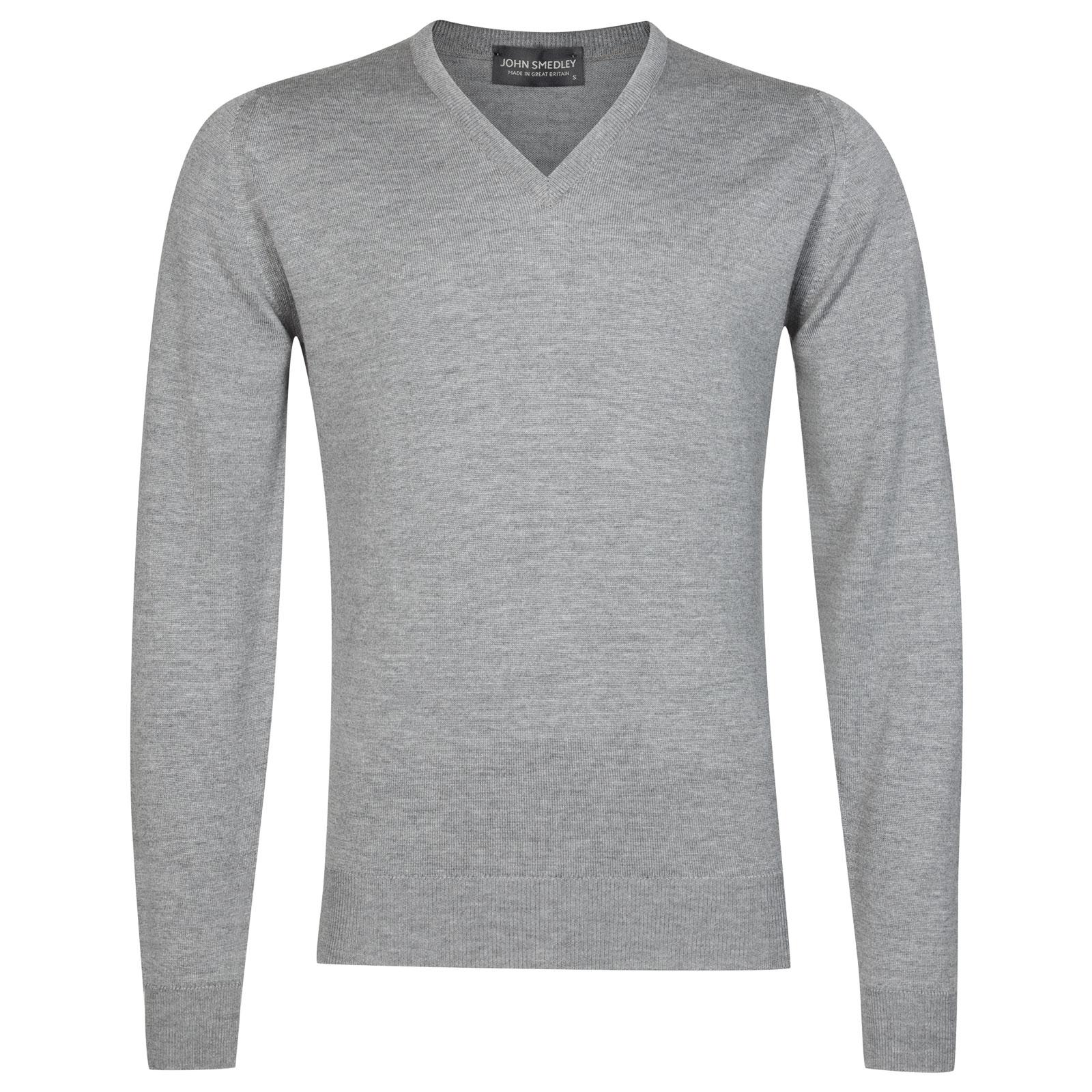 John Smedley Riber Merino Wool Pullover in Silver-S