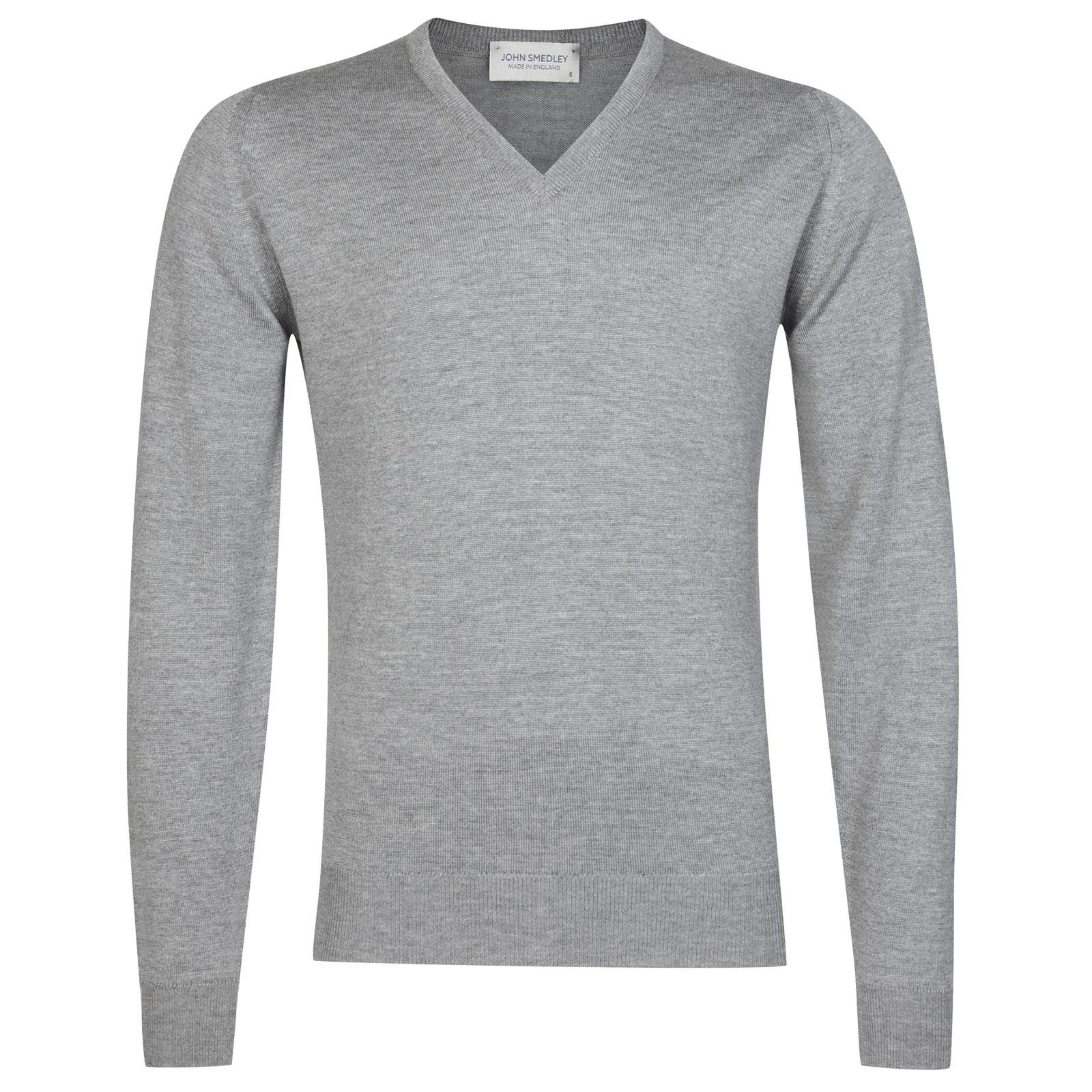 John Smedley Riber Merino Wool Pullover in Silver-M