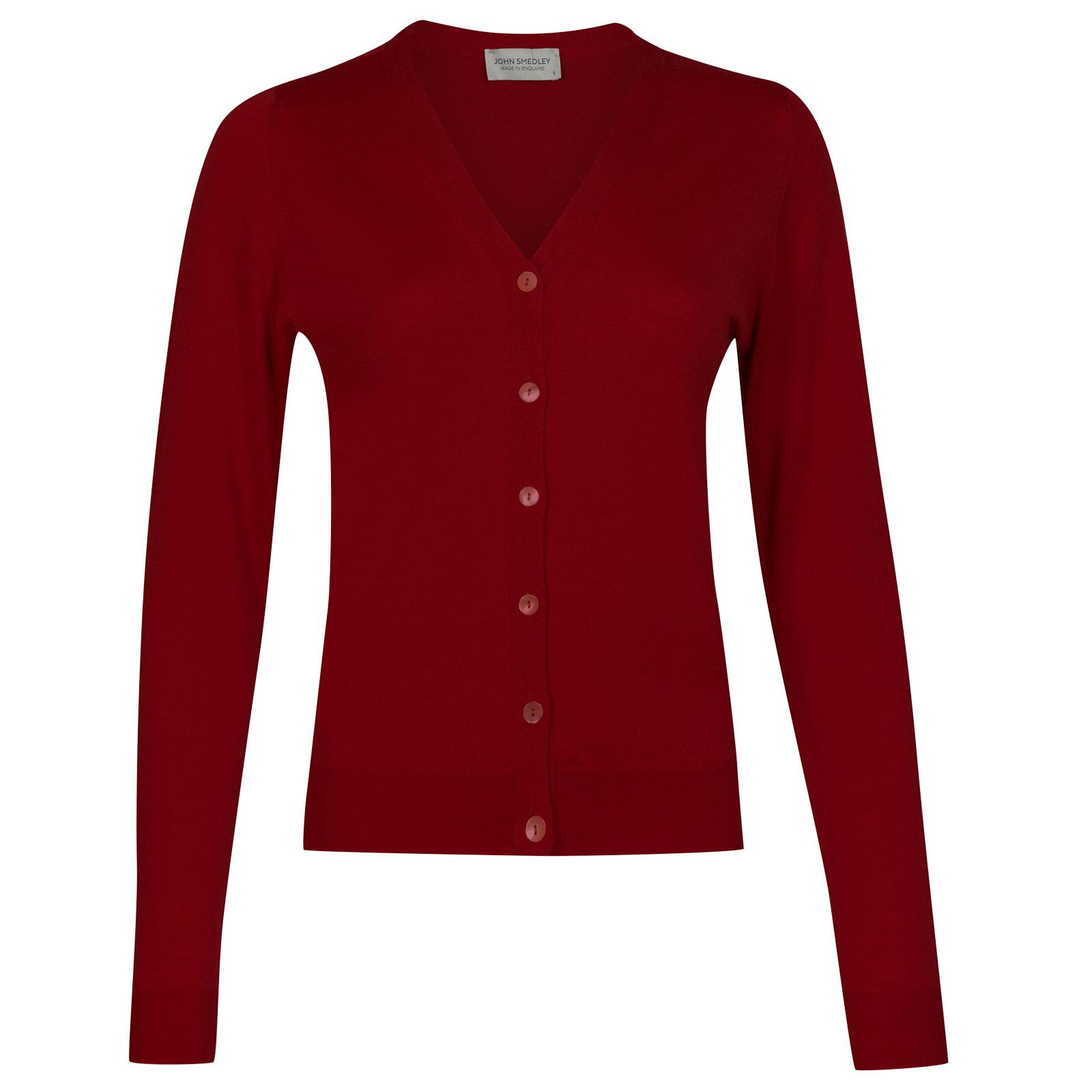 John Smedley rimini Merino Wool Cardigan in Crimson Forest-S