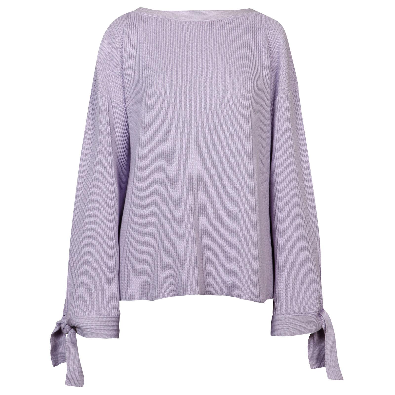 John Smedley Risby Merino Wool Sweater in Pintuck Lilac-XL