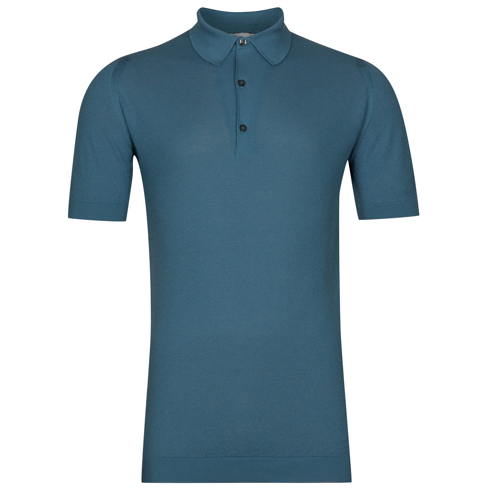 John Smedley Roth Sea Island Cotton Shirt in Bias Blue-XL