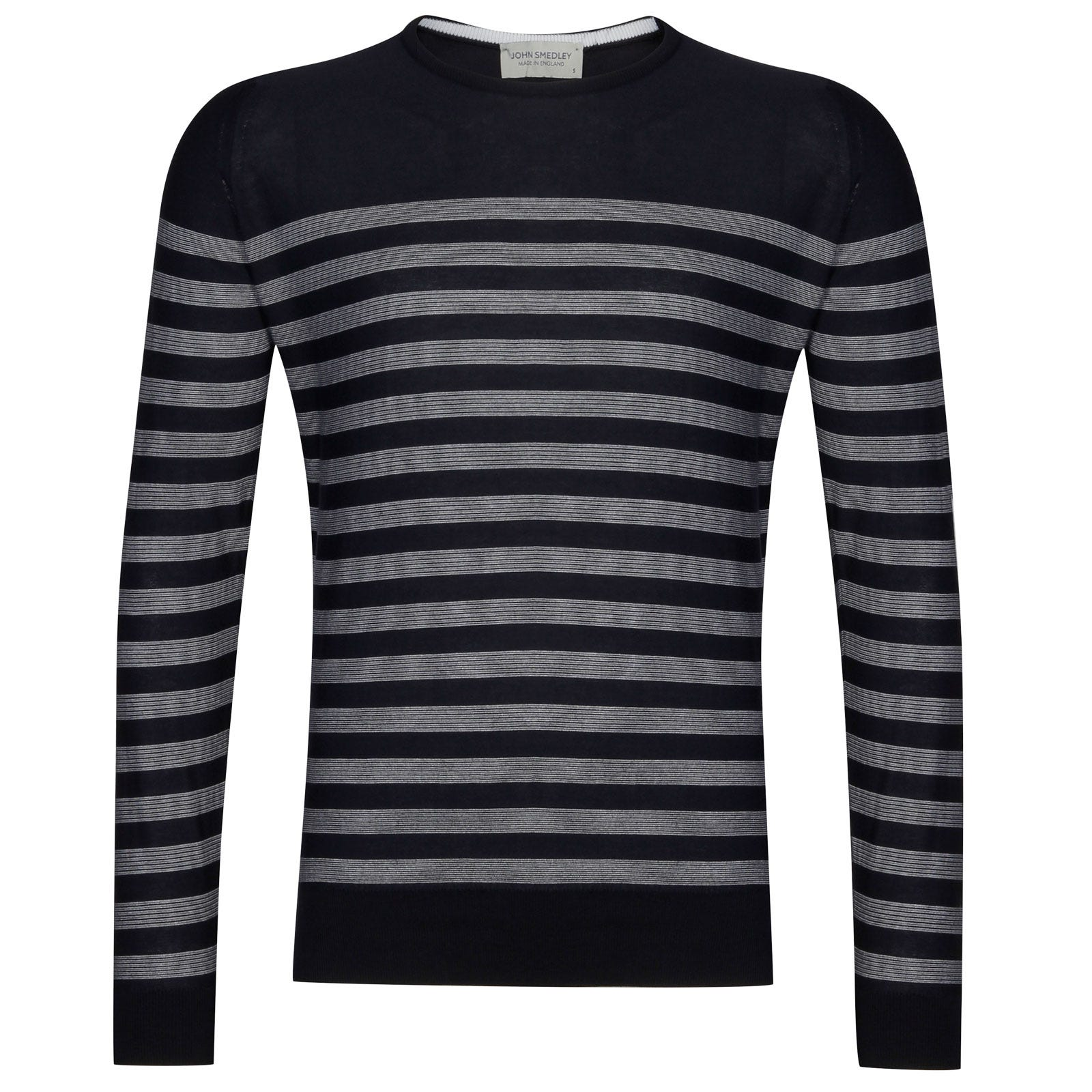 John Smedley rubra Sea Island Cotton Sweater in Navy/White-M