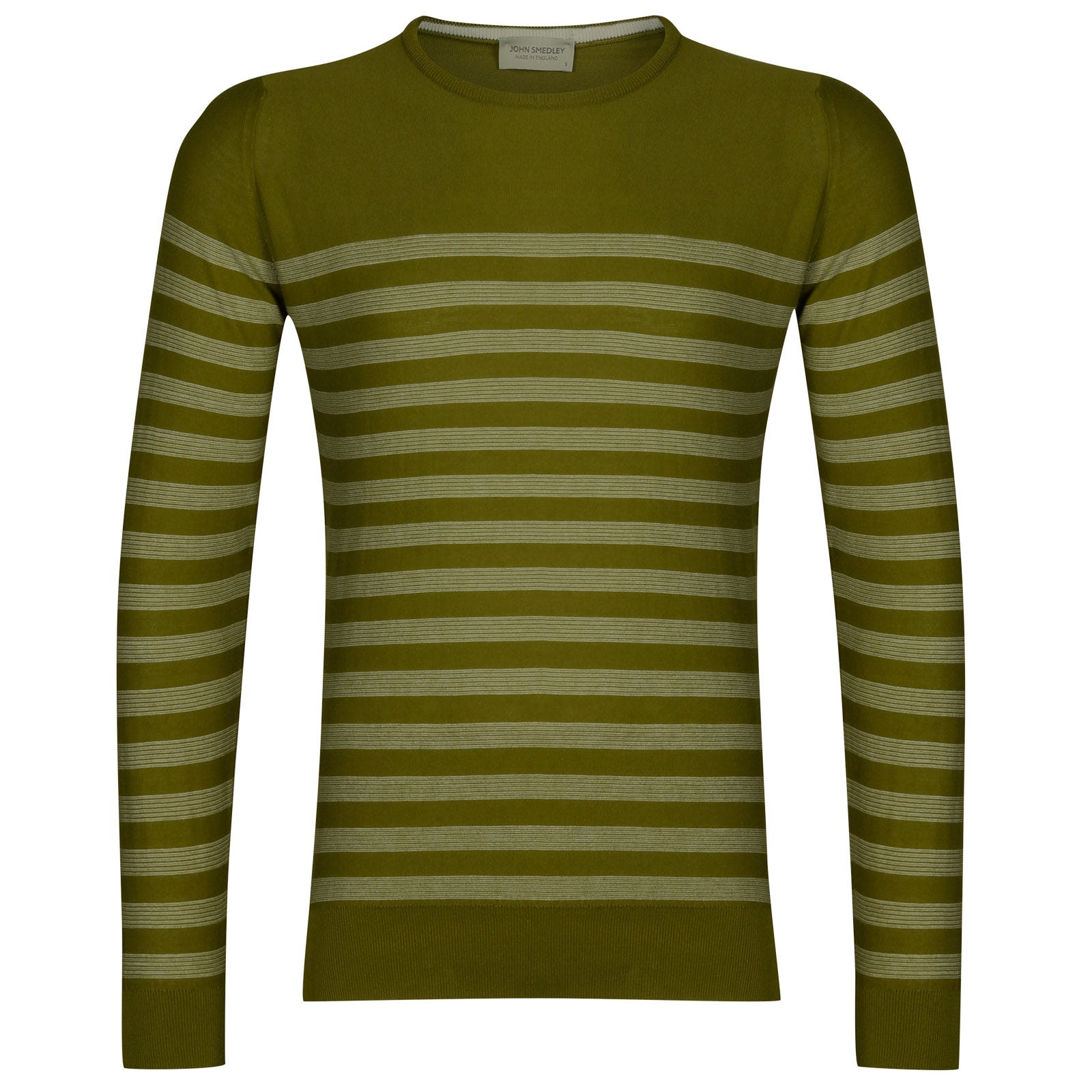 John Smedley rubra Sea Island Cotton Sweater in Lumsdale Green/White-S