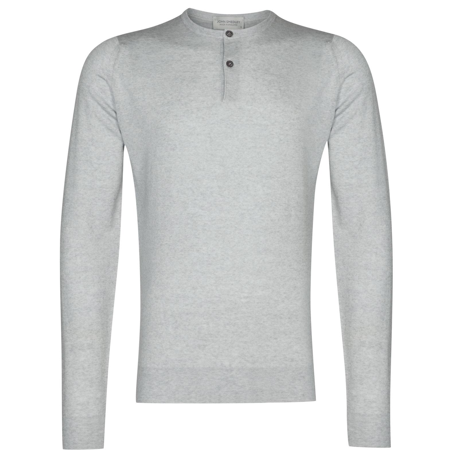 John Smedley Russet Merino Wool Henley Shirt in Bardot Grey-XL
