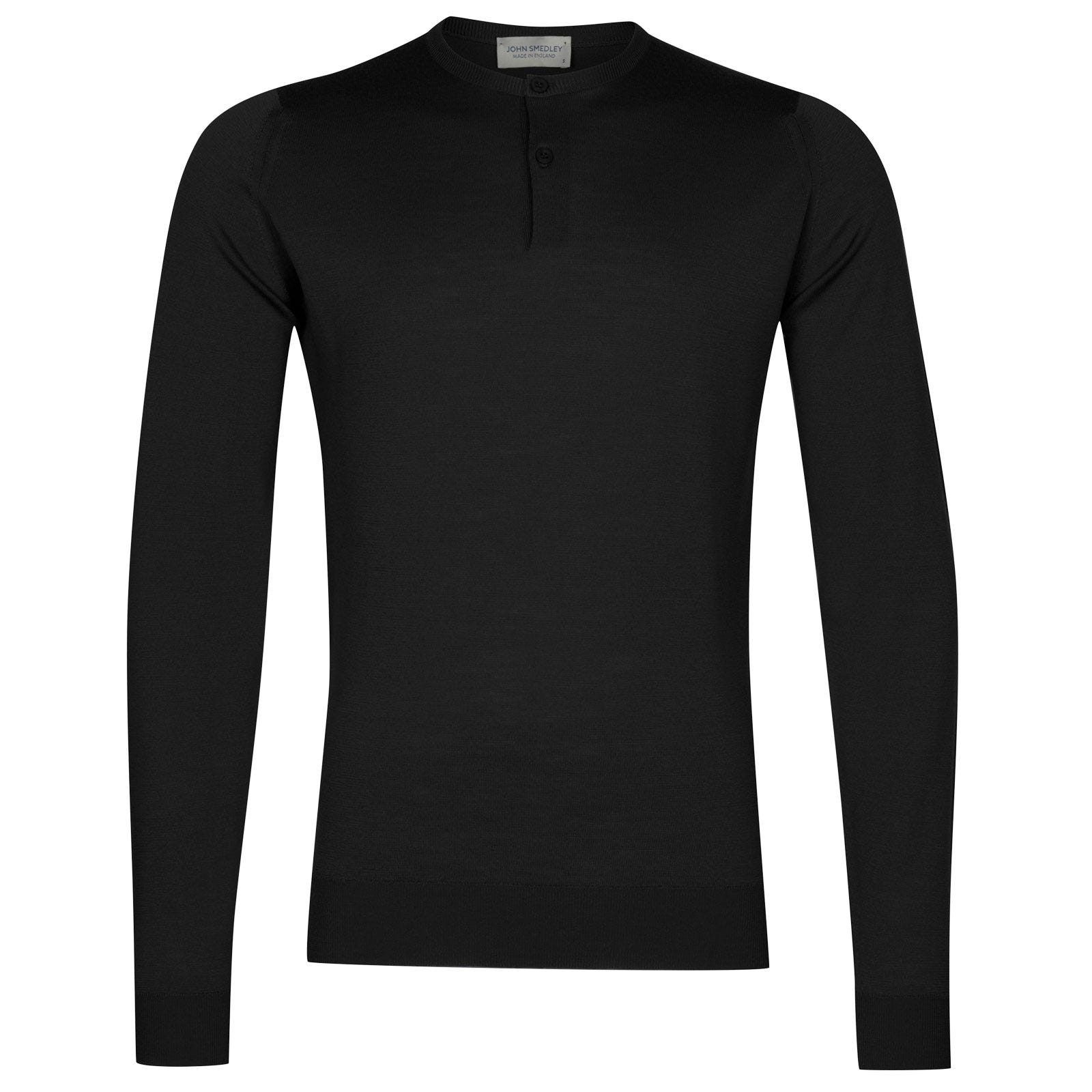 John Smedley russet Merino Wool Henley Shirt in Black-XL