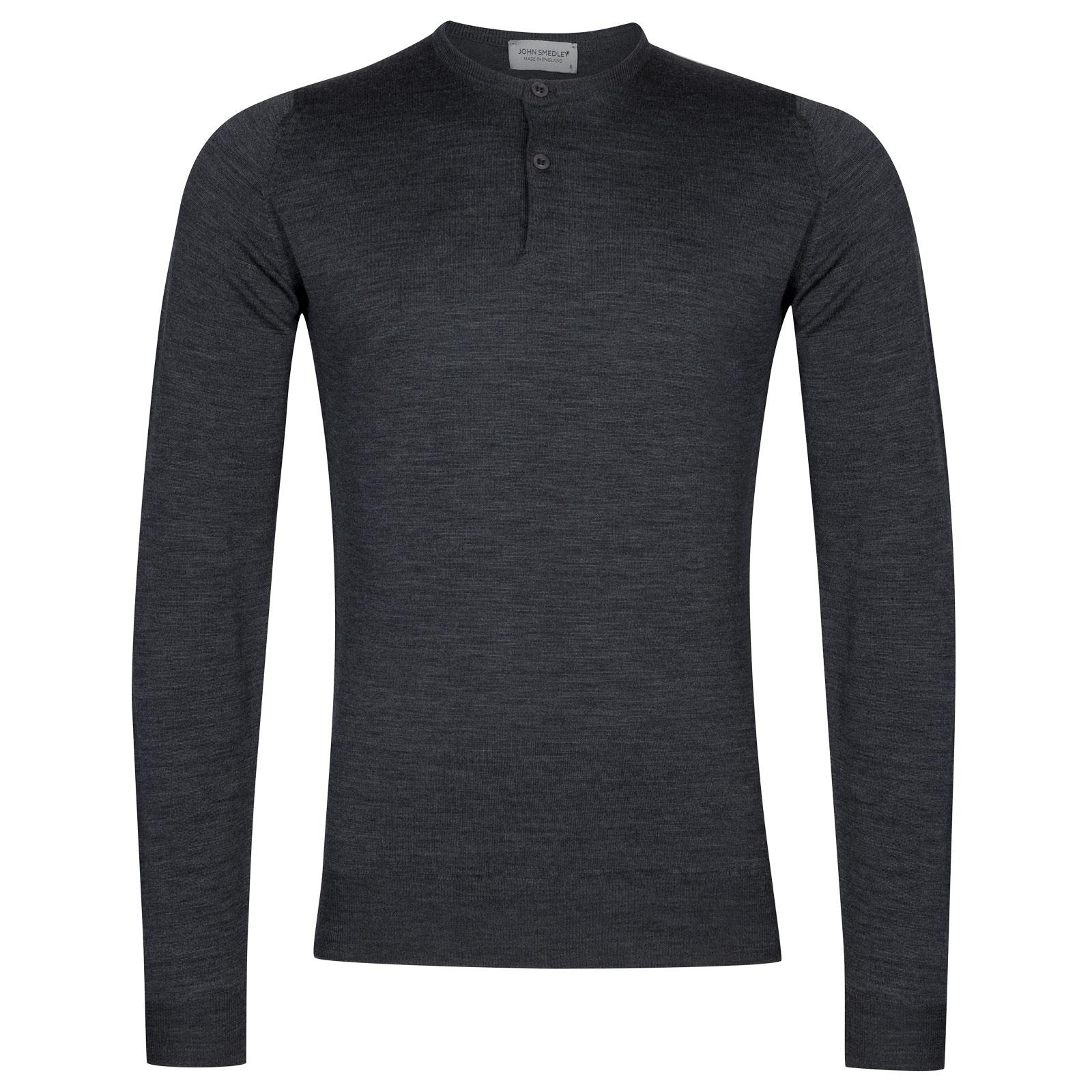 John Smedley Russet Merino Wool Henley Shirt in Charcoal-XL