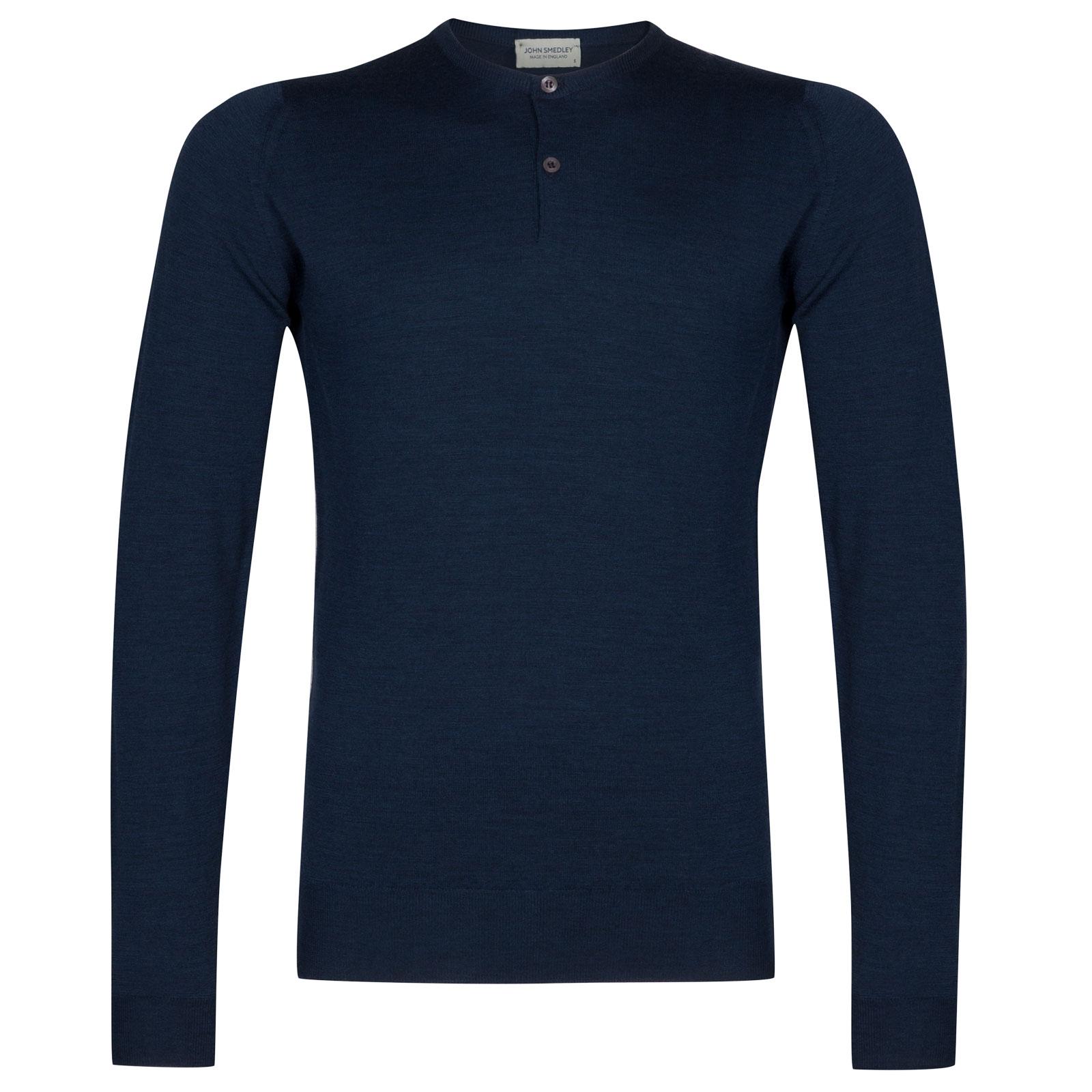 John Smedley russet Merino Wool Henley Shirt in Indigo-XXL