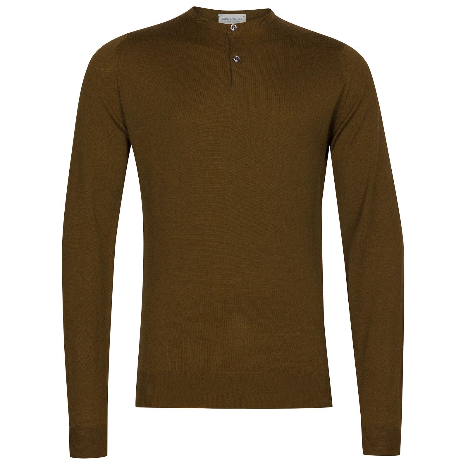 John Smedley Russet Merino Wool Henley Shirt in Khaki-XL