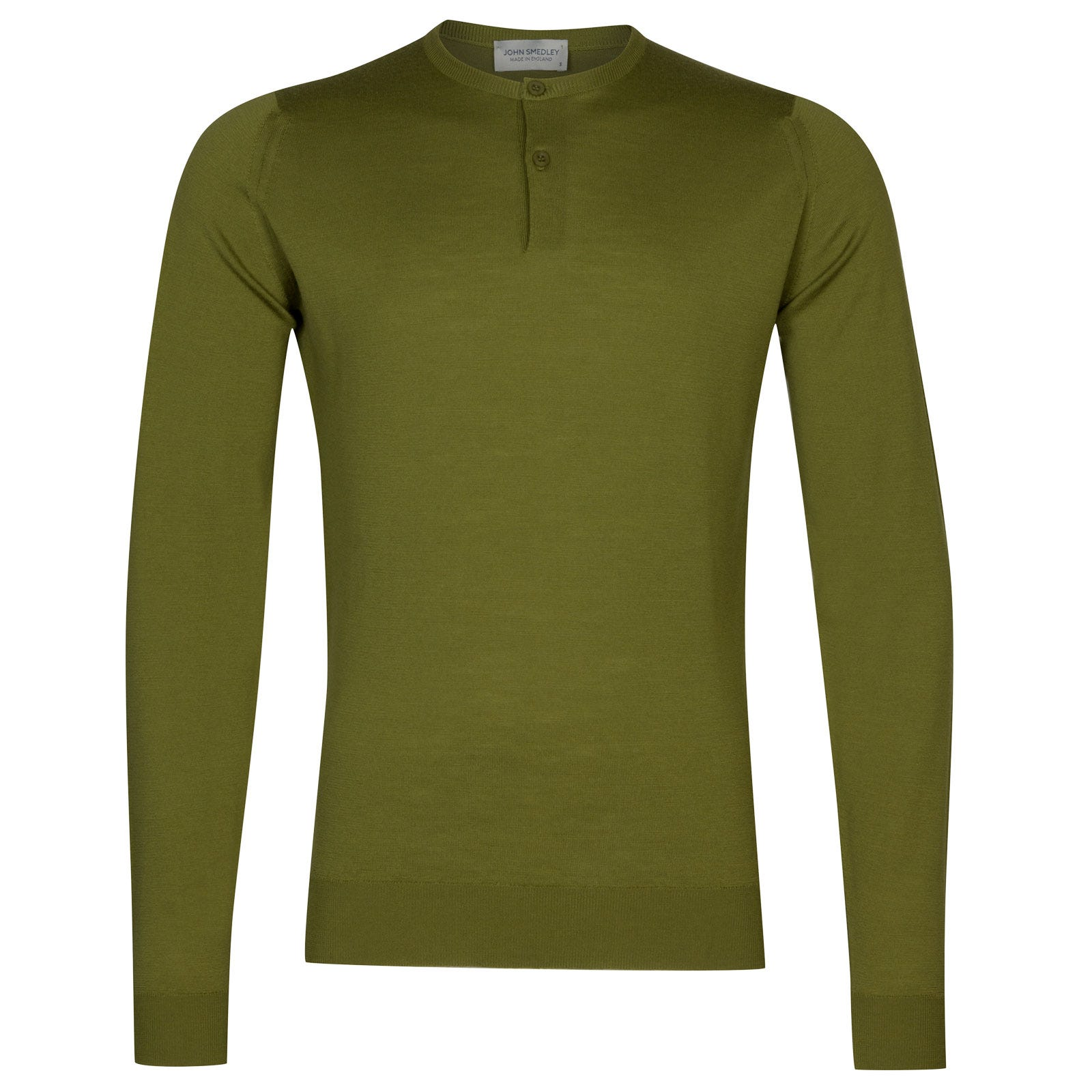 John Smedley russet Merino Wool Henley Shirt in Lumsdale Green-L
