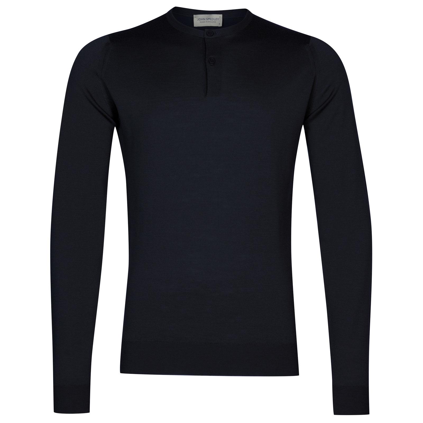John Smedley russet Merino Wool Henley Shirt in Midnight-XXL