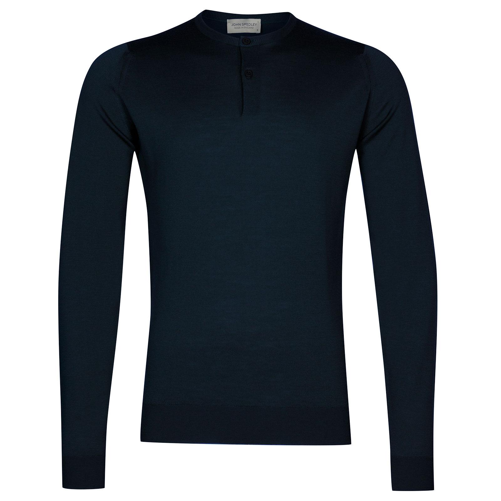 John Smedley Russet Merino Wool Henley Shirt in Orion Green-XXL
