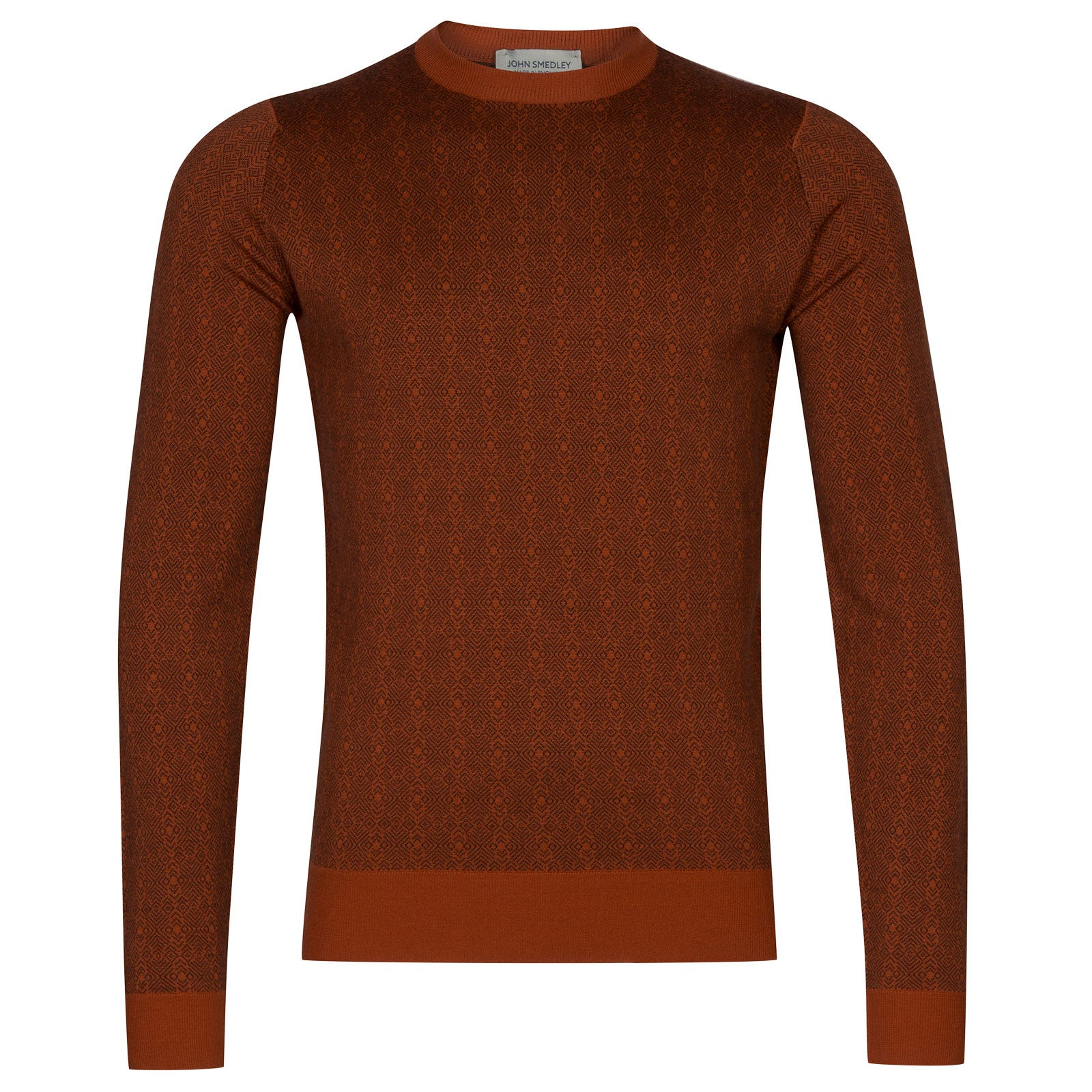 John Smedley rutland Merino Wool Pullover in Chestnut/Flare Orange-XL