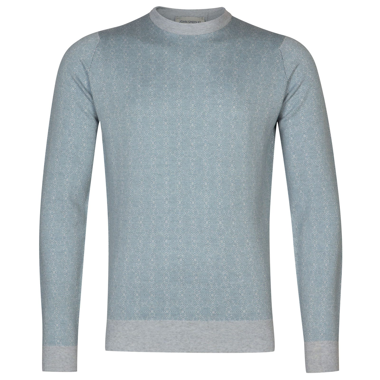 John Smedley rutland Merino Wool Pullover in Bardot Grey/Summit Blue-M