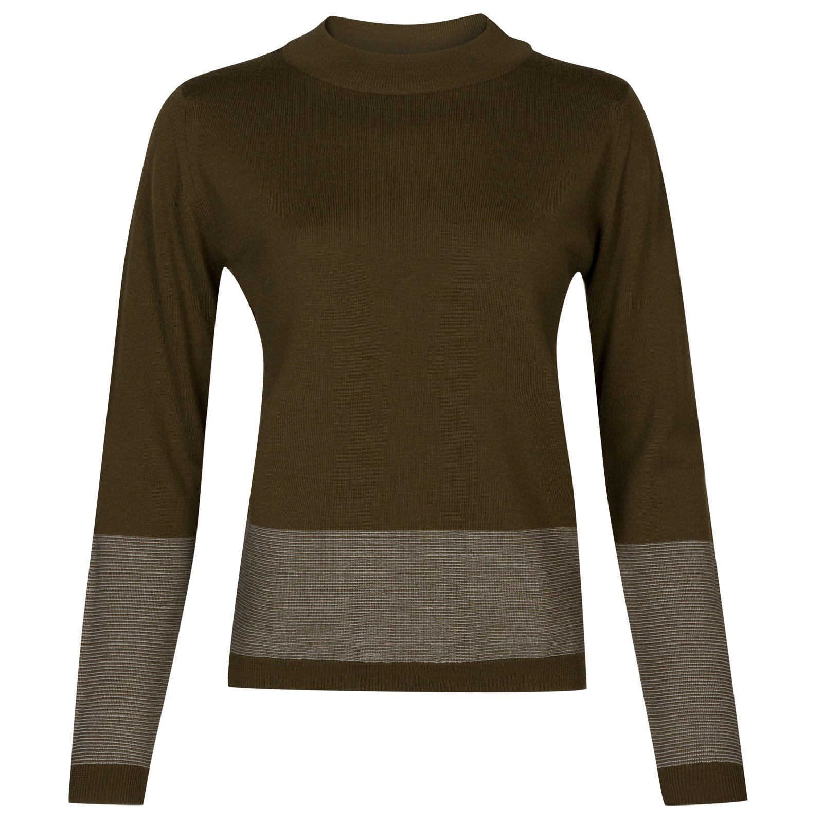 John Smedley sable Merino Wool Sweater in Kielder Green/Snow White-L