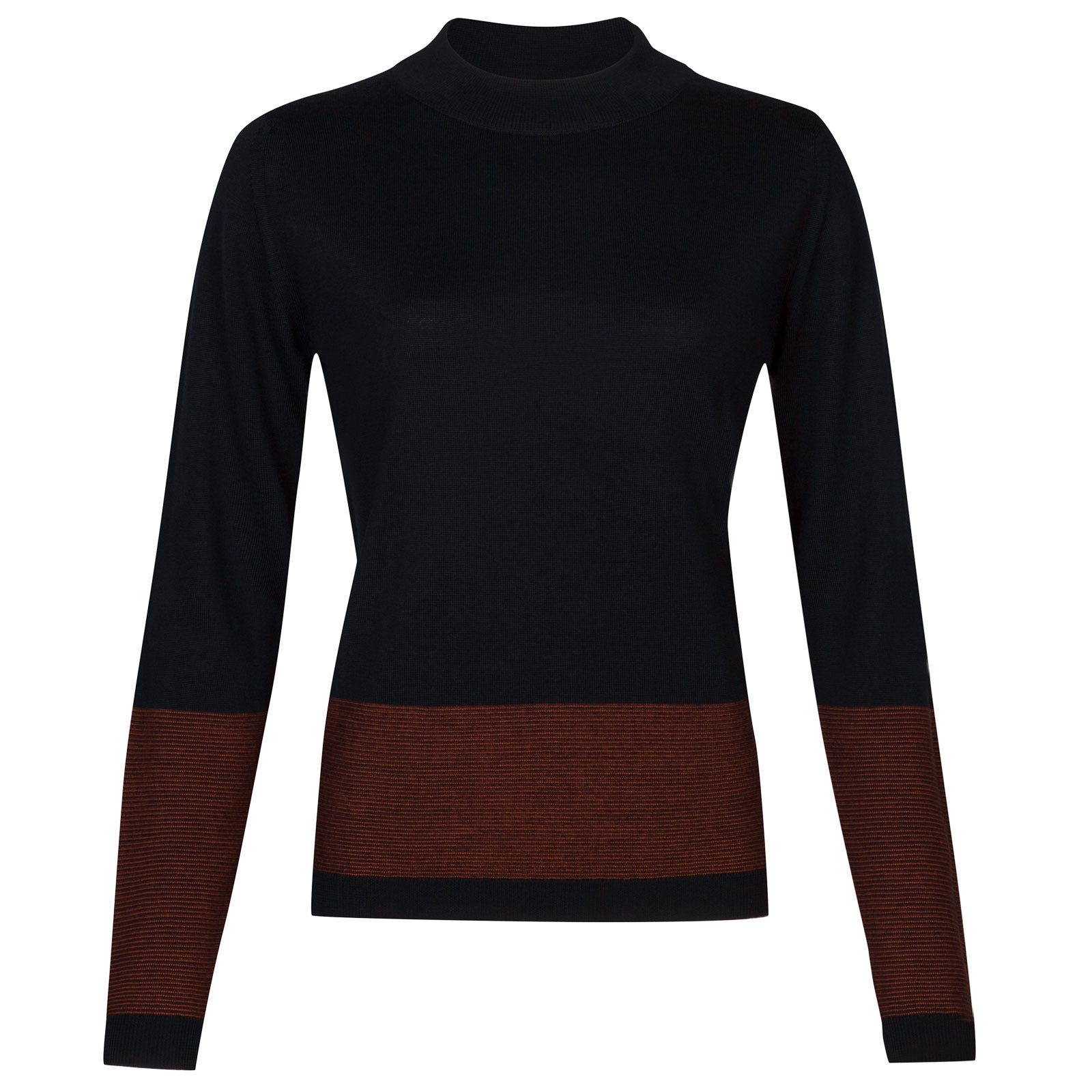 John Smedley sable Merino Wool Sweater in Midnight/Flare Orange-XL