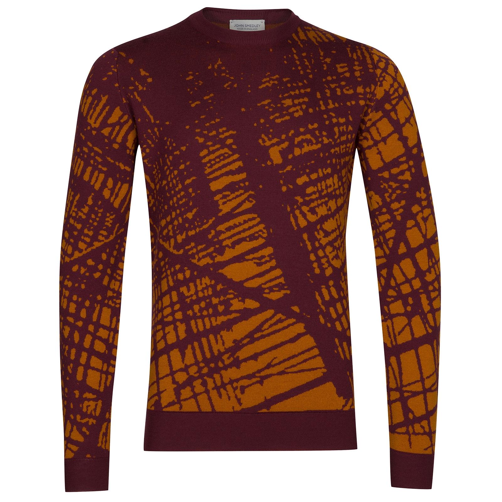 John Smedley Sagan Extra Fine Merino Wool Pullover in Bordeaux-XXL