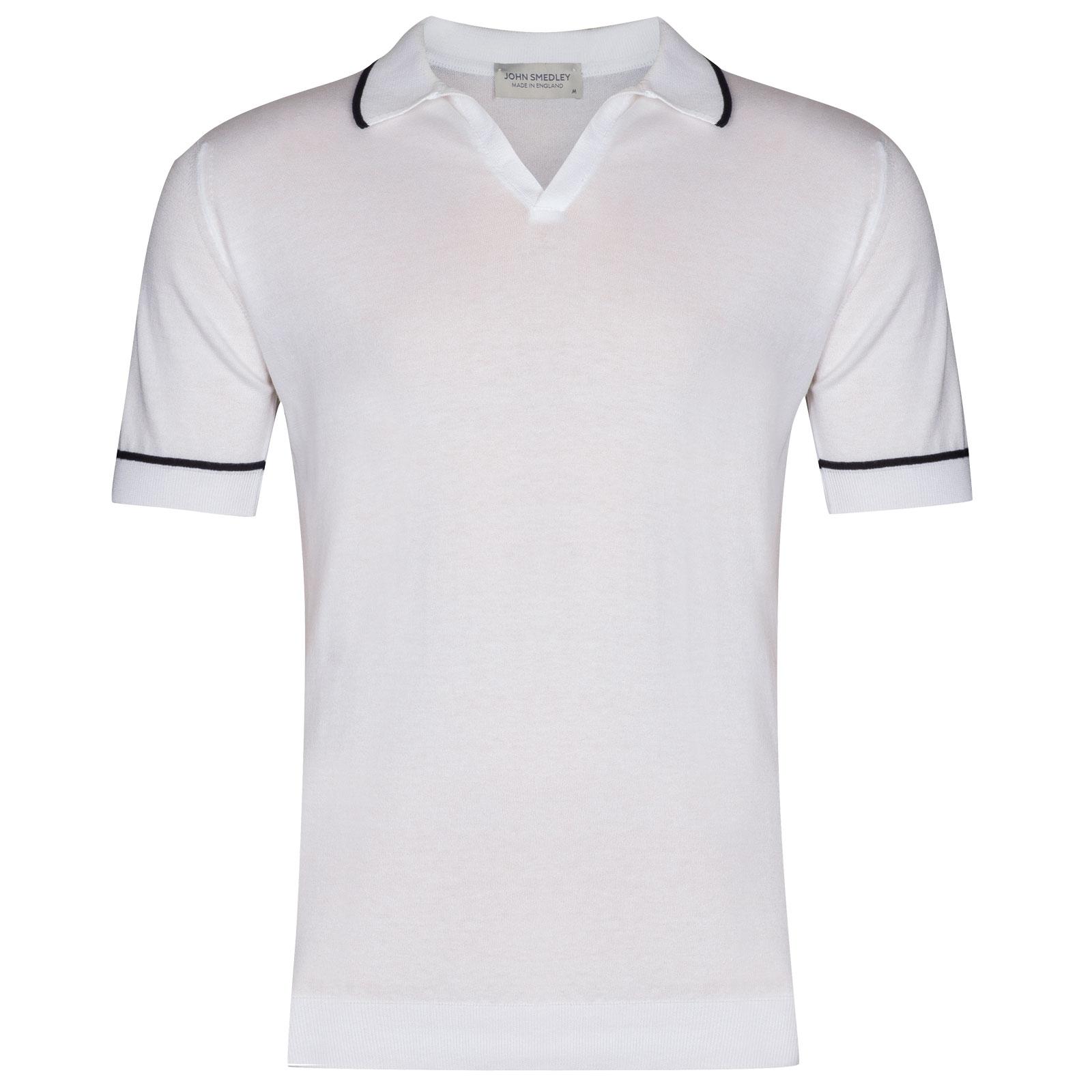 John Smedley Saxon in White Shirt-LGE