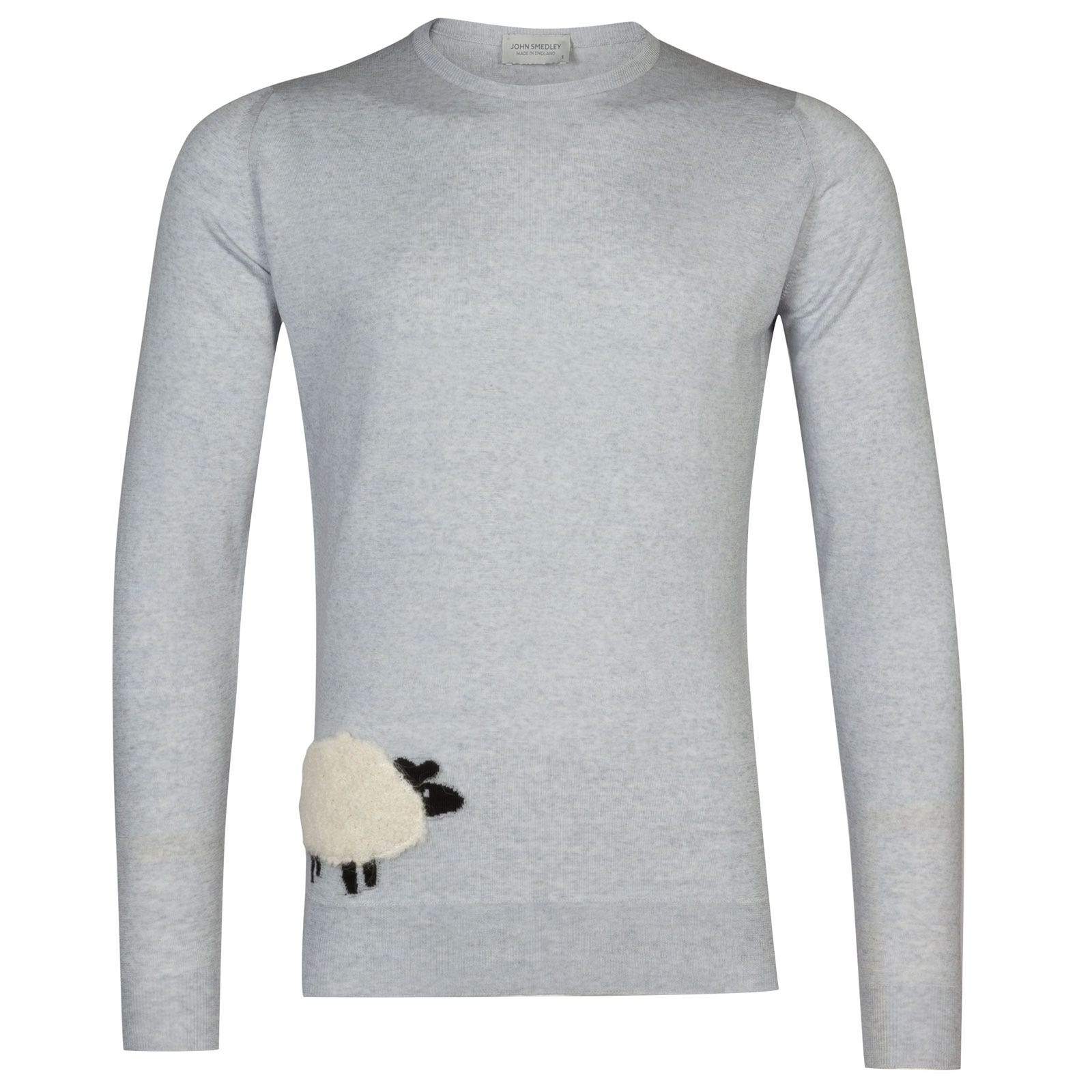 John Smedley Sheep Merino Wool Sweater in Kielder Green/Snow White-S