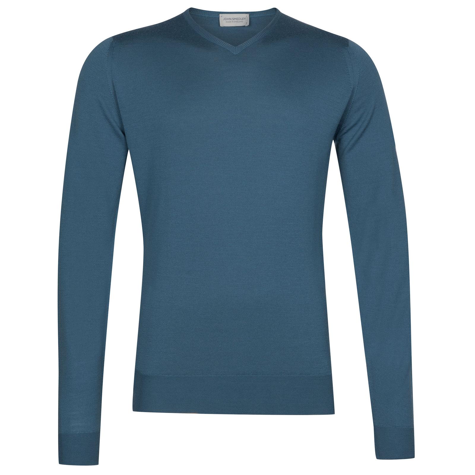 John Smedley Shipton Merino Wool Pullover in Bias Blue-L