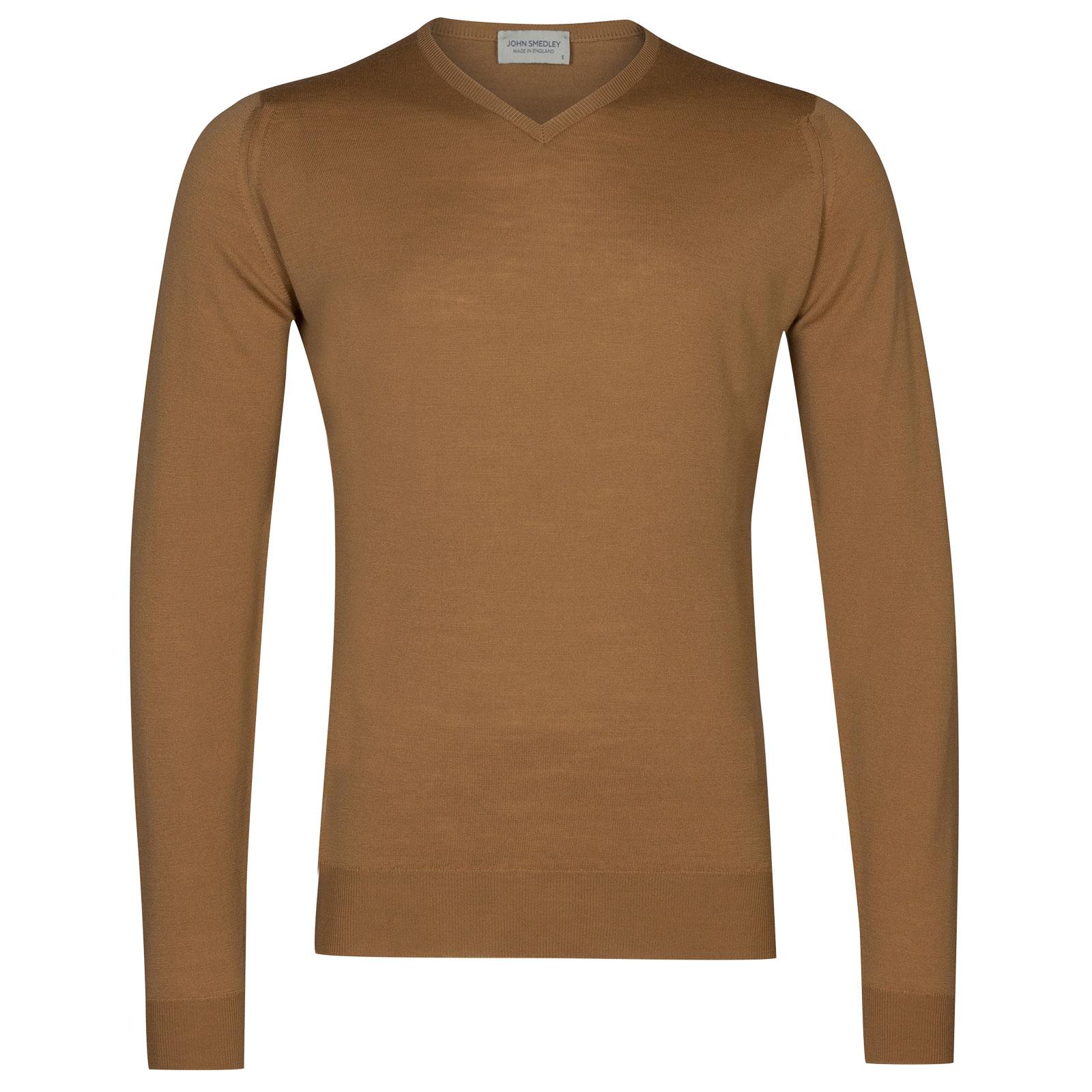 John Smedley shipton Merino Wool Pullover in Camel-XXL