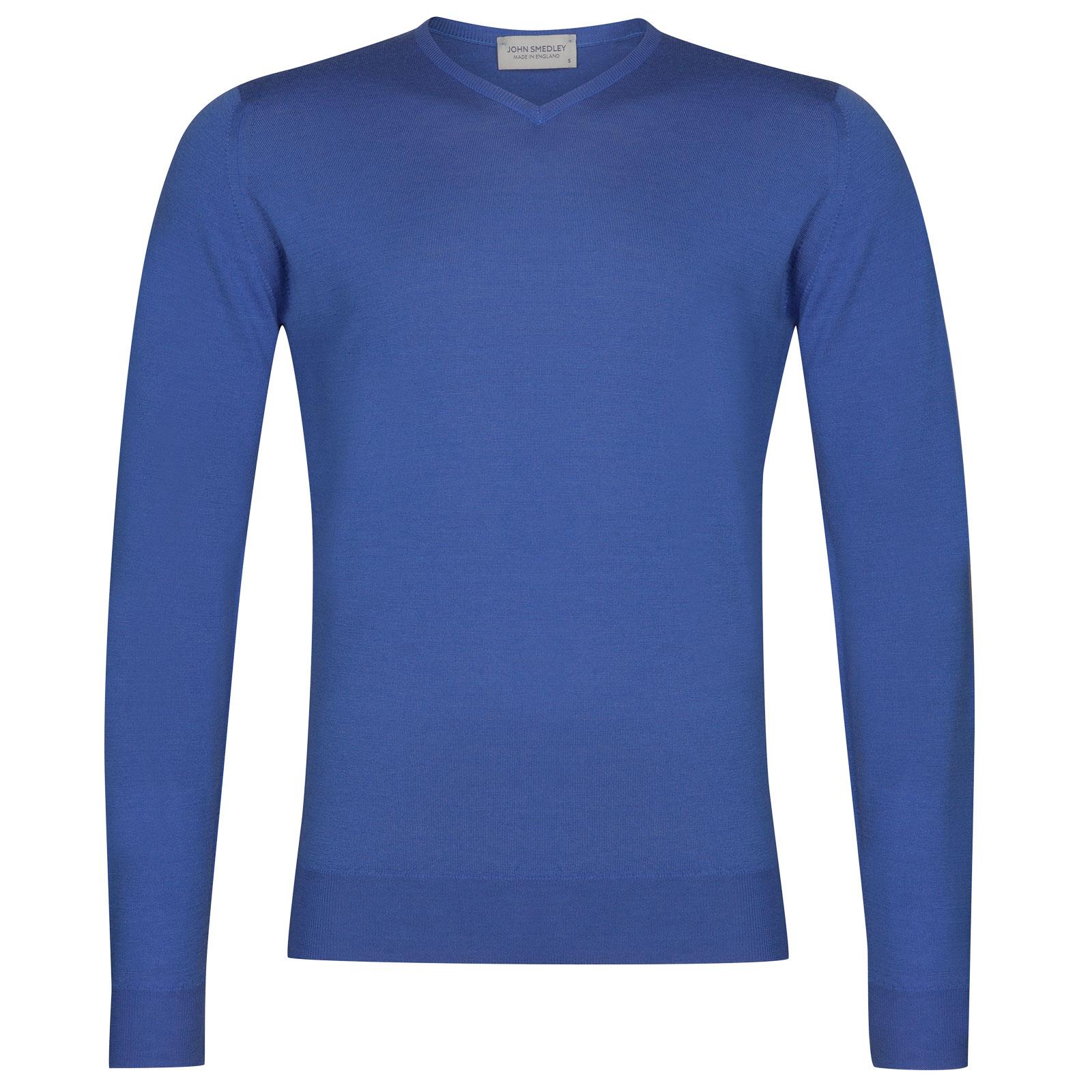 John Smedley Shipton Merino Wool Pullover in Chambray Blue-XL
