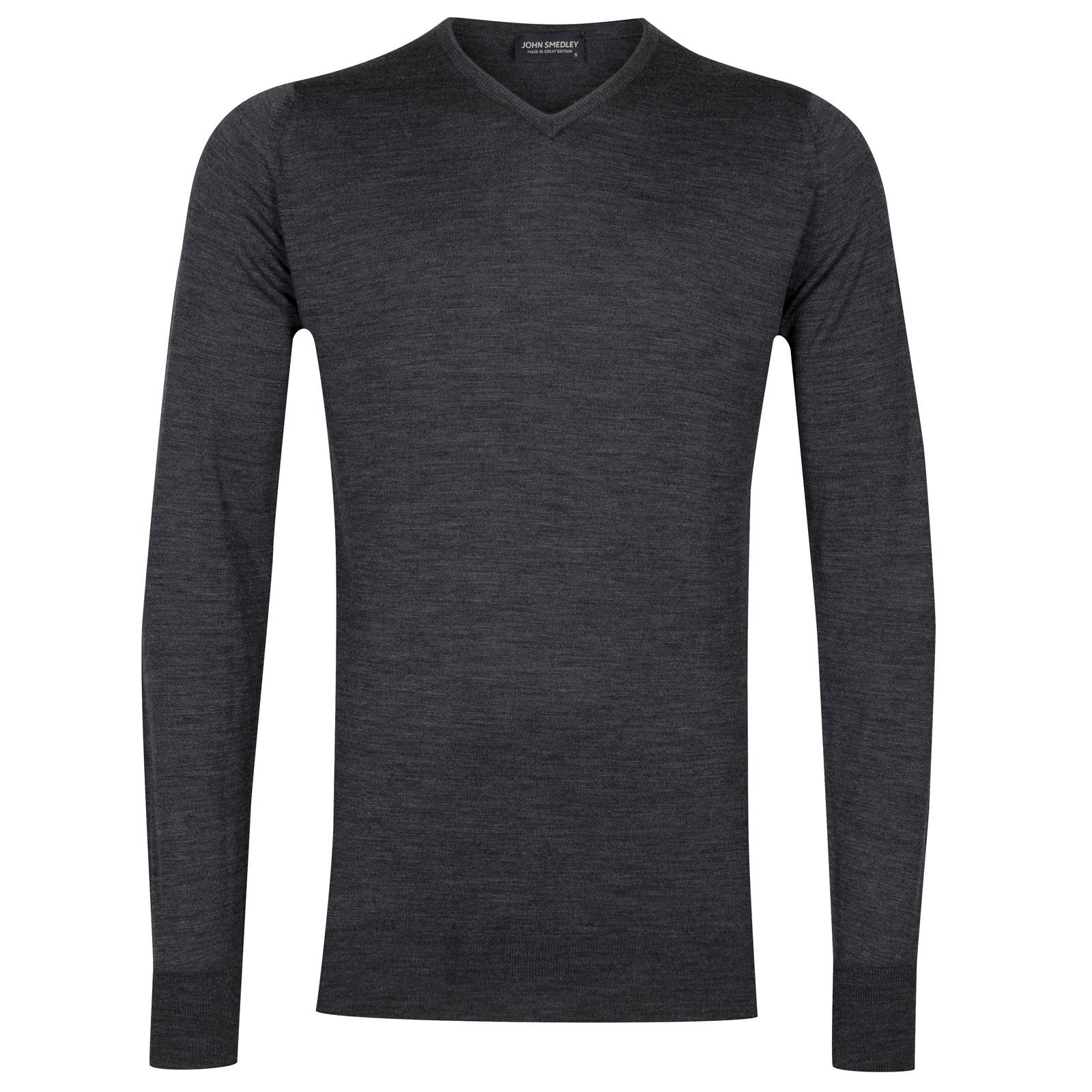 John Smedley shipton Merino Wool Pullover in Charcoal-M