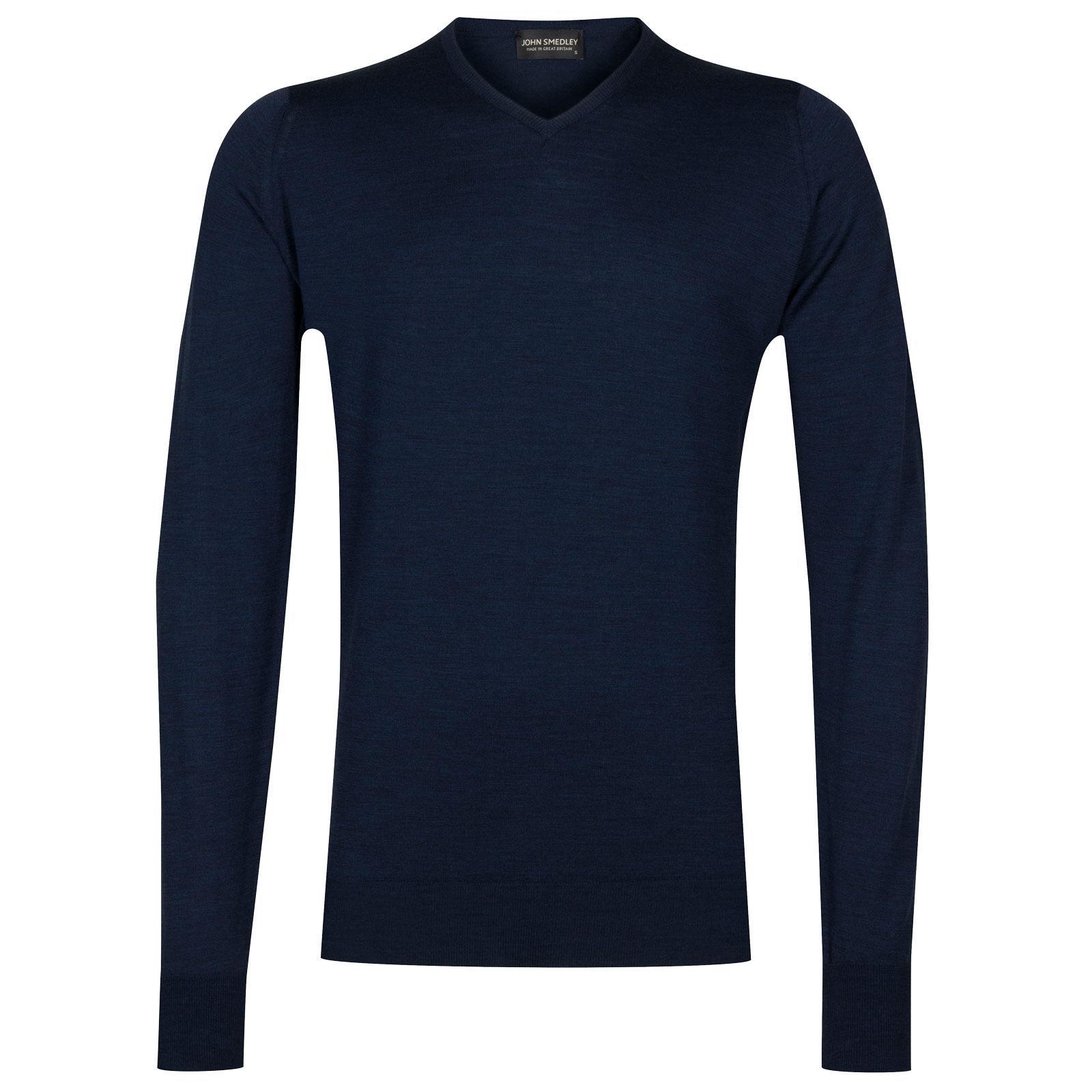 John Smedley shipton Merino Wool Pullover in Indigo-S