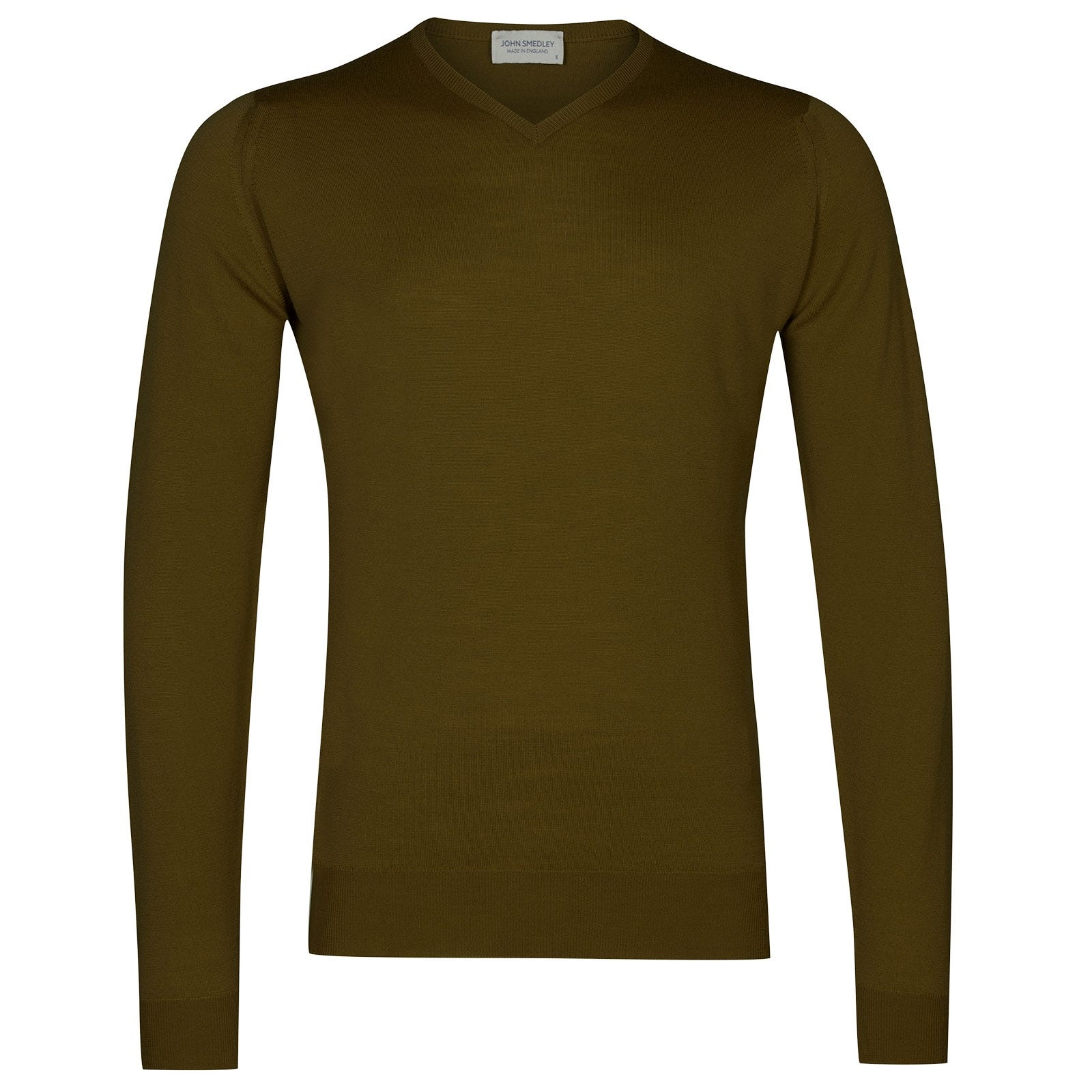 John Smedley Shipton Merino Wool Pullover in Khaki-L