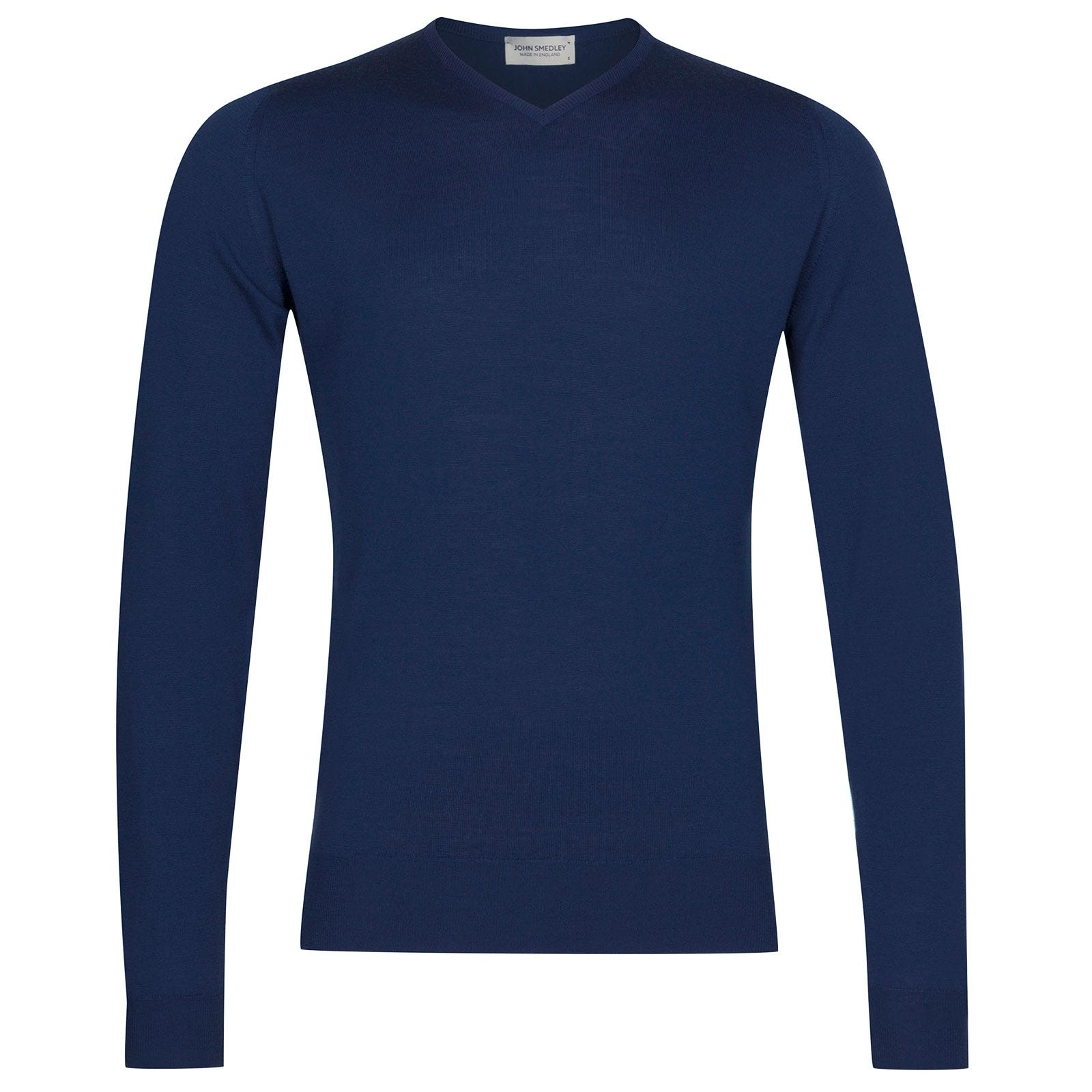John Smedley Shipton Merino Wool Pullover in Magnetic Cobalt-L