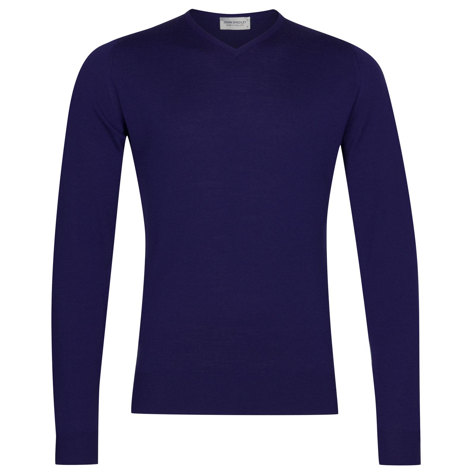 John Smedley Shipton Merino Wool Pullover in Serge Blue-M