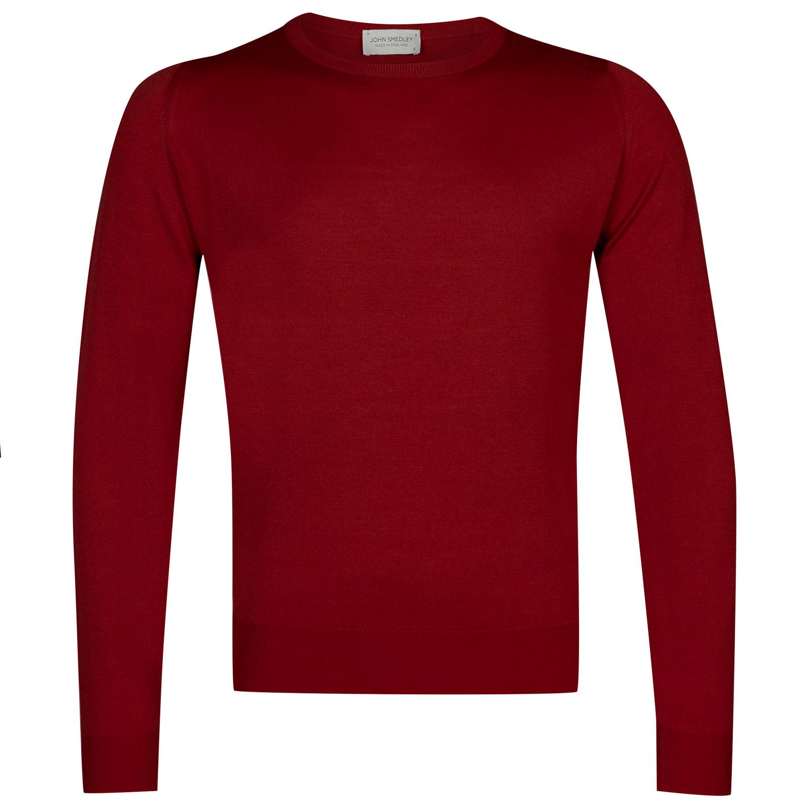 John Smedley sicily Merino Wool Pullover in Crimson Forest-XL