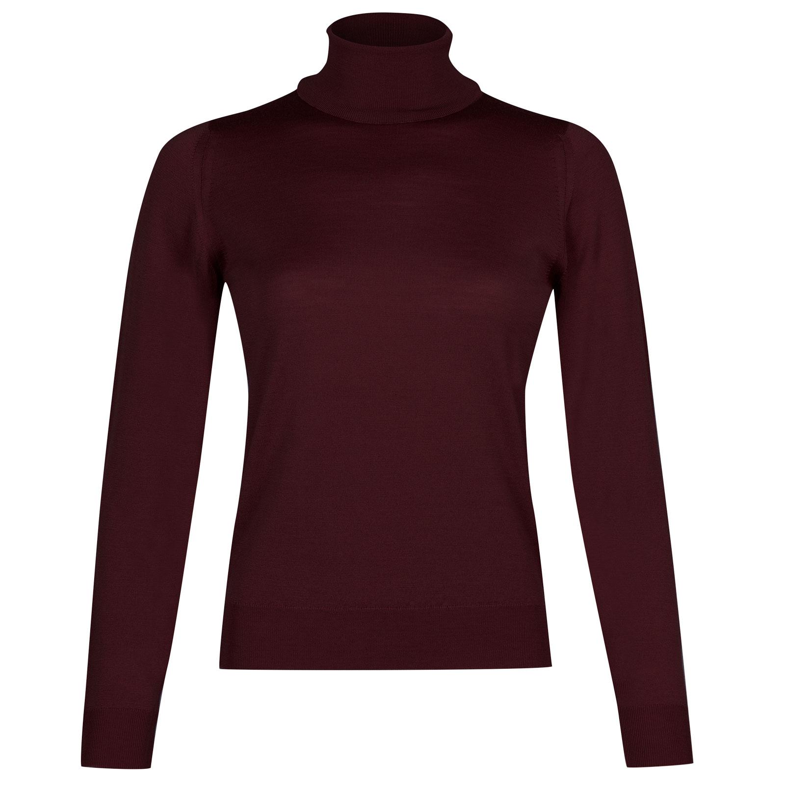 John Smedley siena Merino Wool Sweater in Maroon Blaze-S