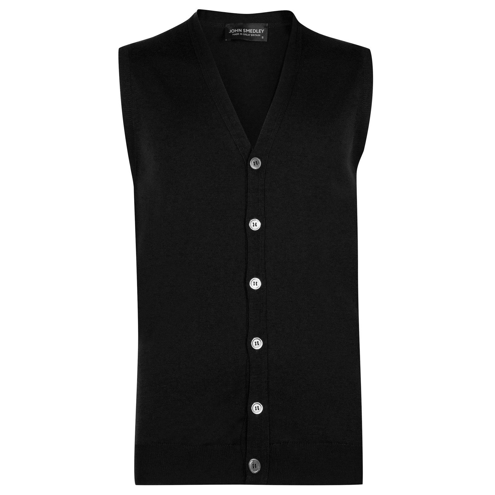 John Smedley stavely Merino Wool Waistcoat in Black-S