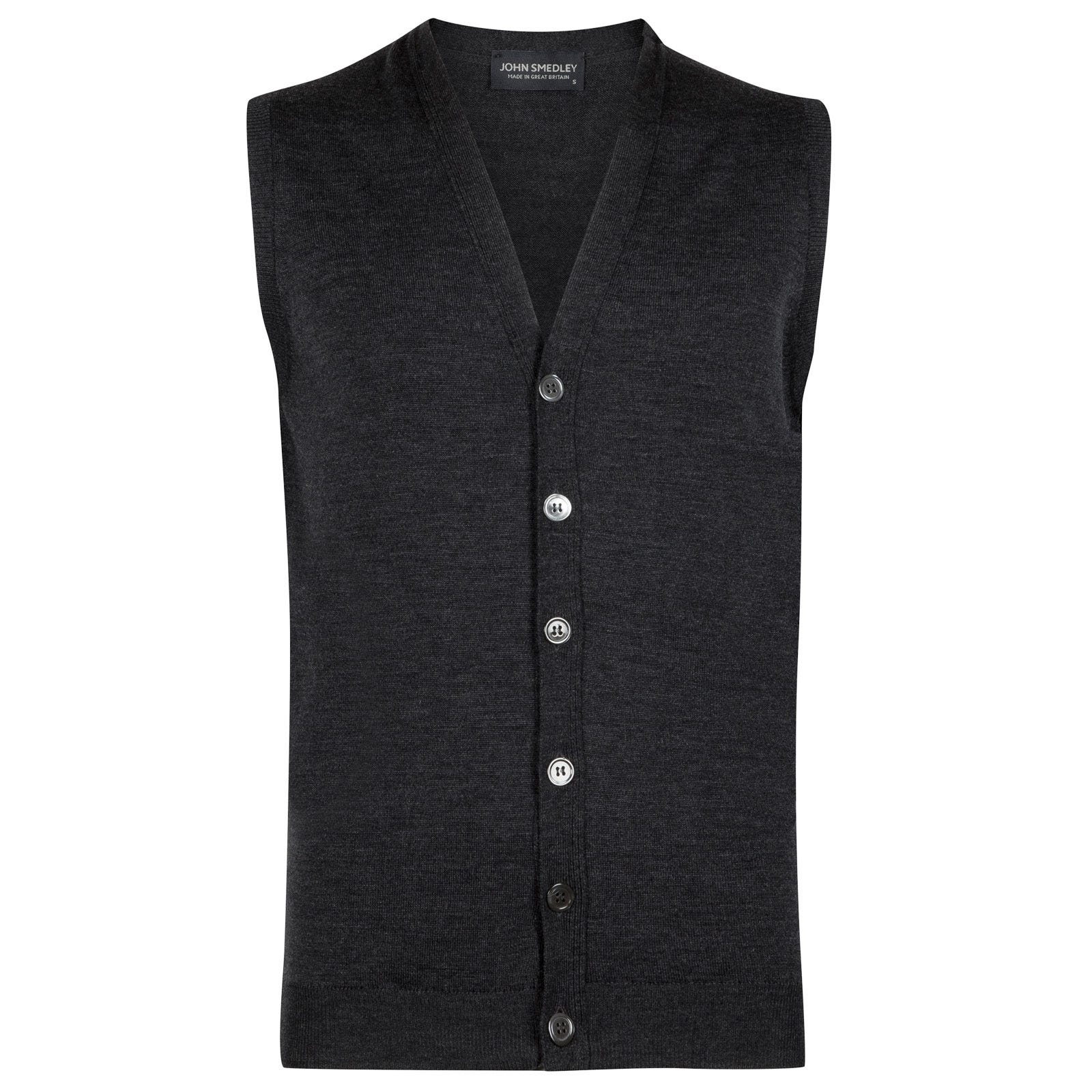 John Smedley stavely Merino Wool Waistcoat in Charcoal-XL