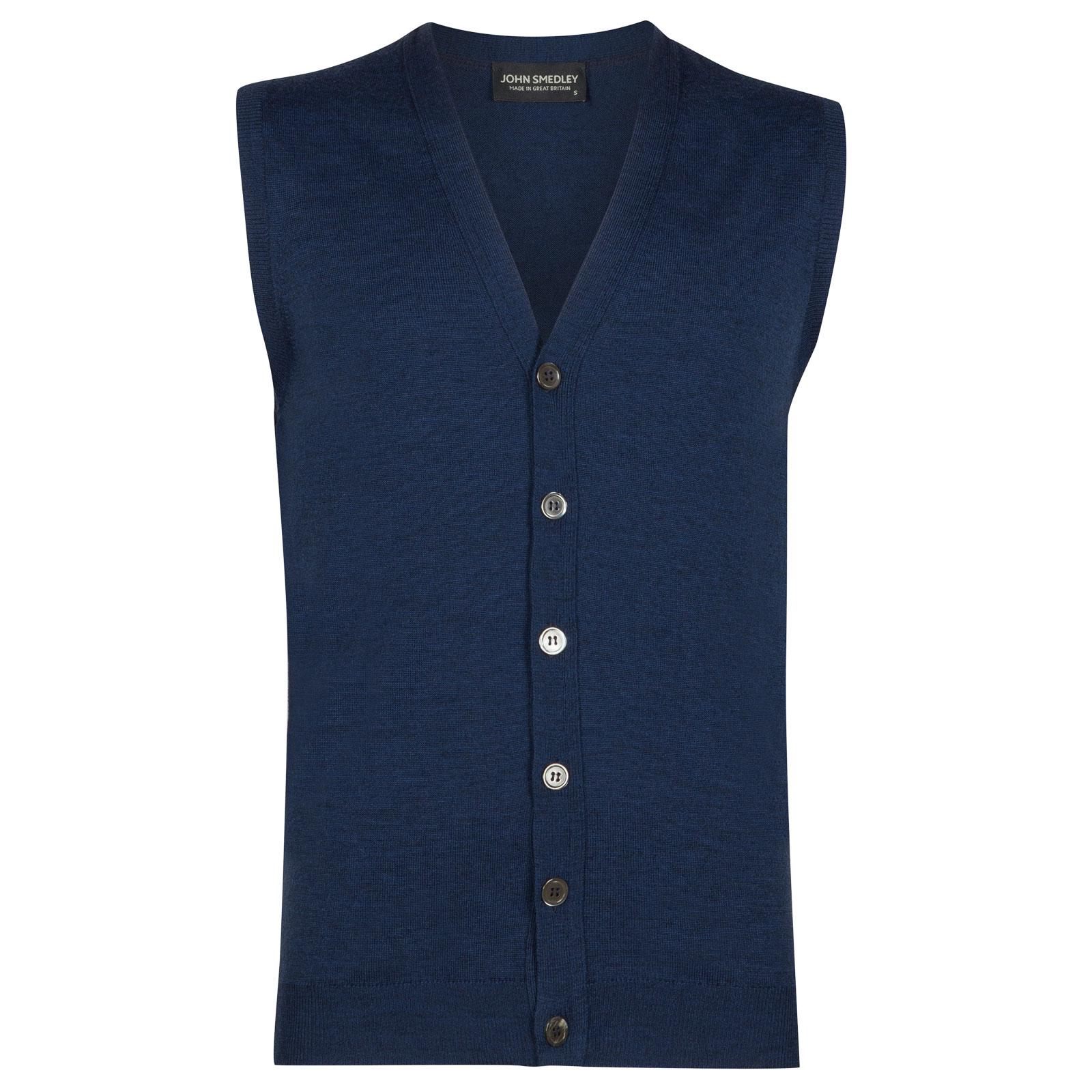 John Smedley stavely Merino Wool Waistcoat in Indigo-M